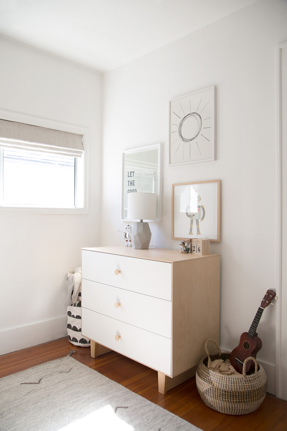 oeuf dresser with gallery wall in boys room