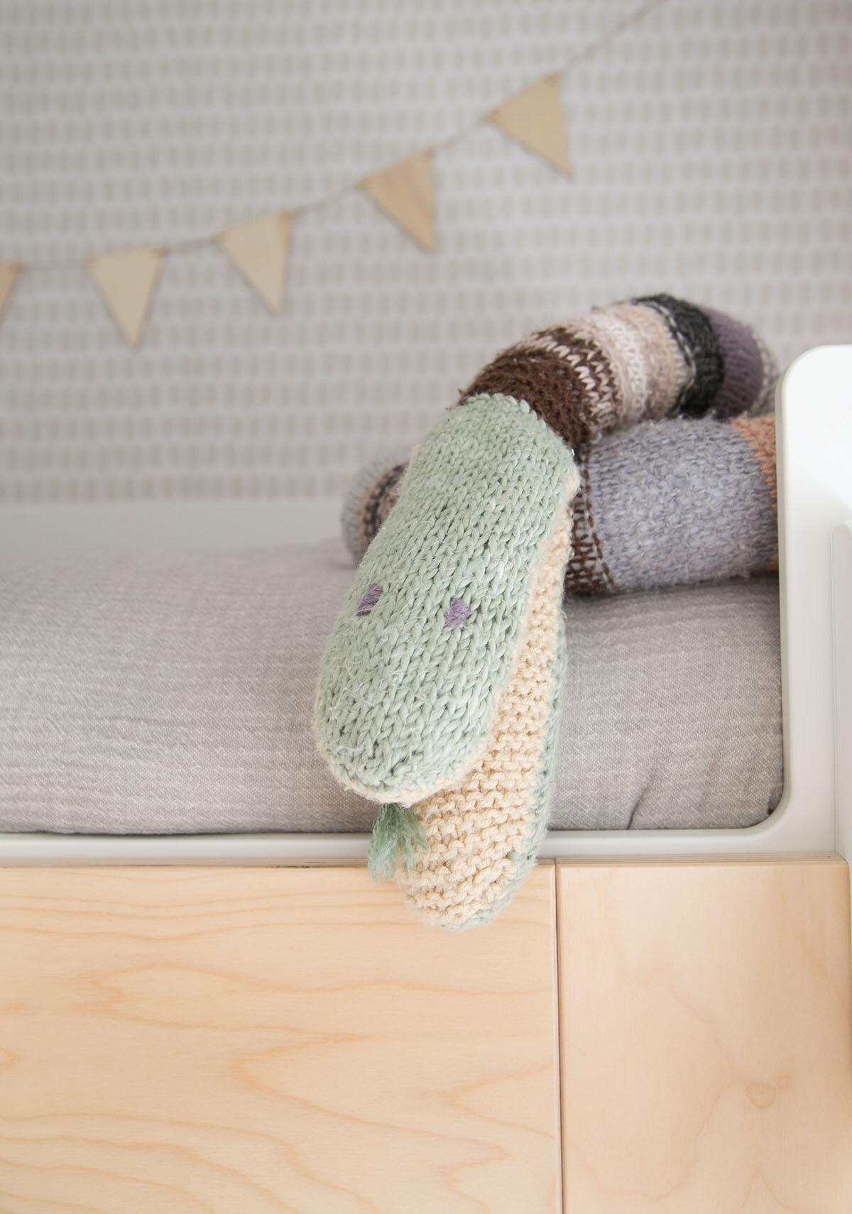 hand knit snake toy