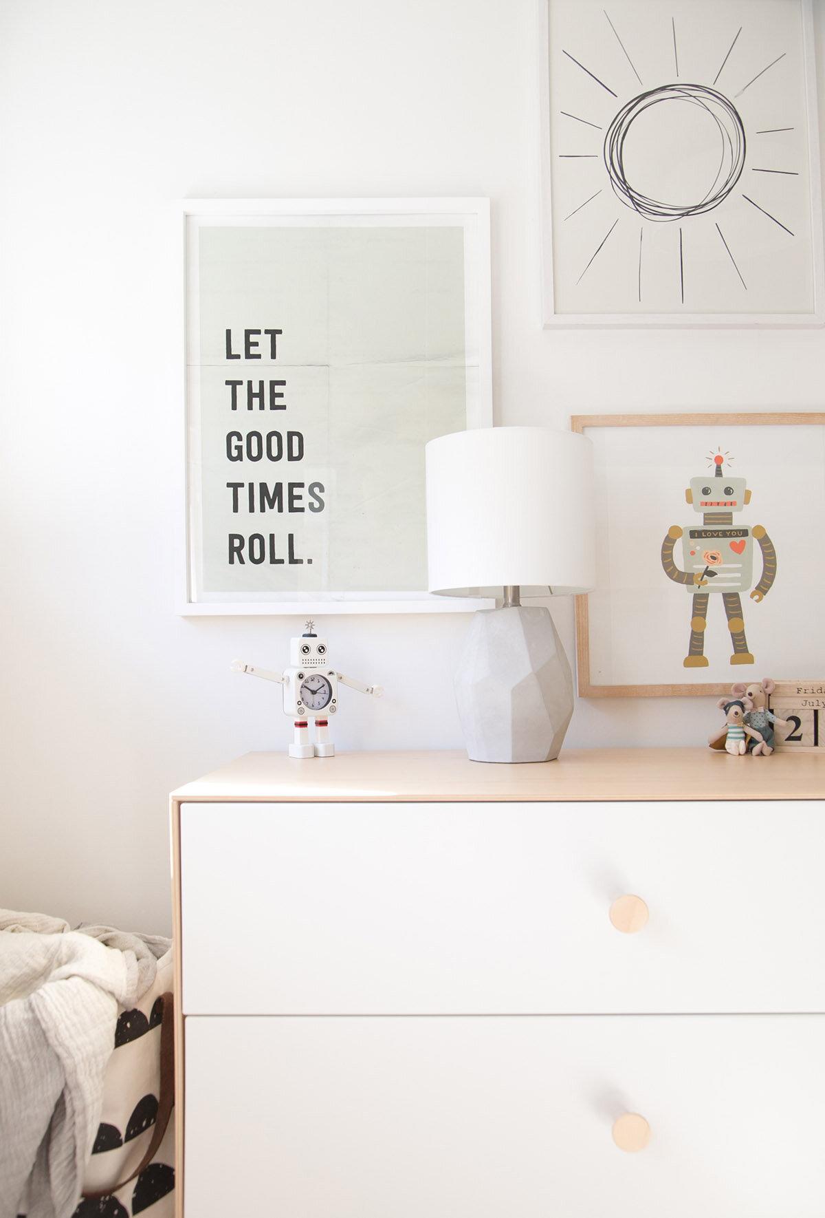simple gallery wall in boys room