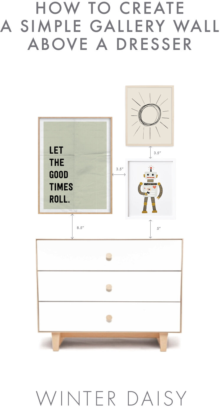 how to create a simple gallery wall above a dresser