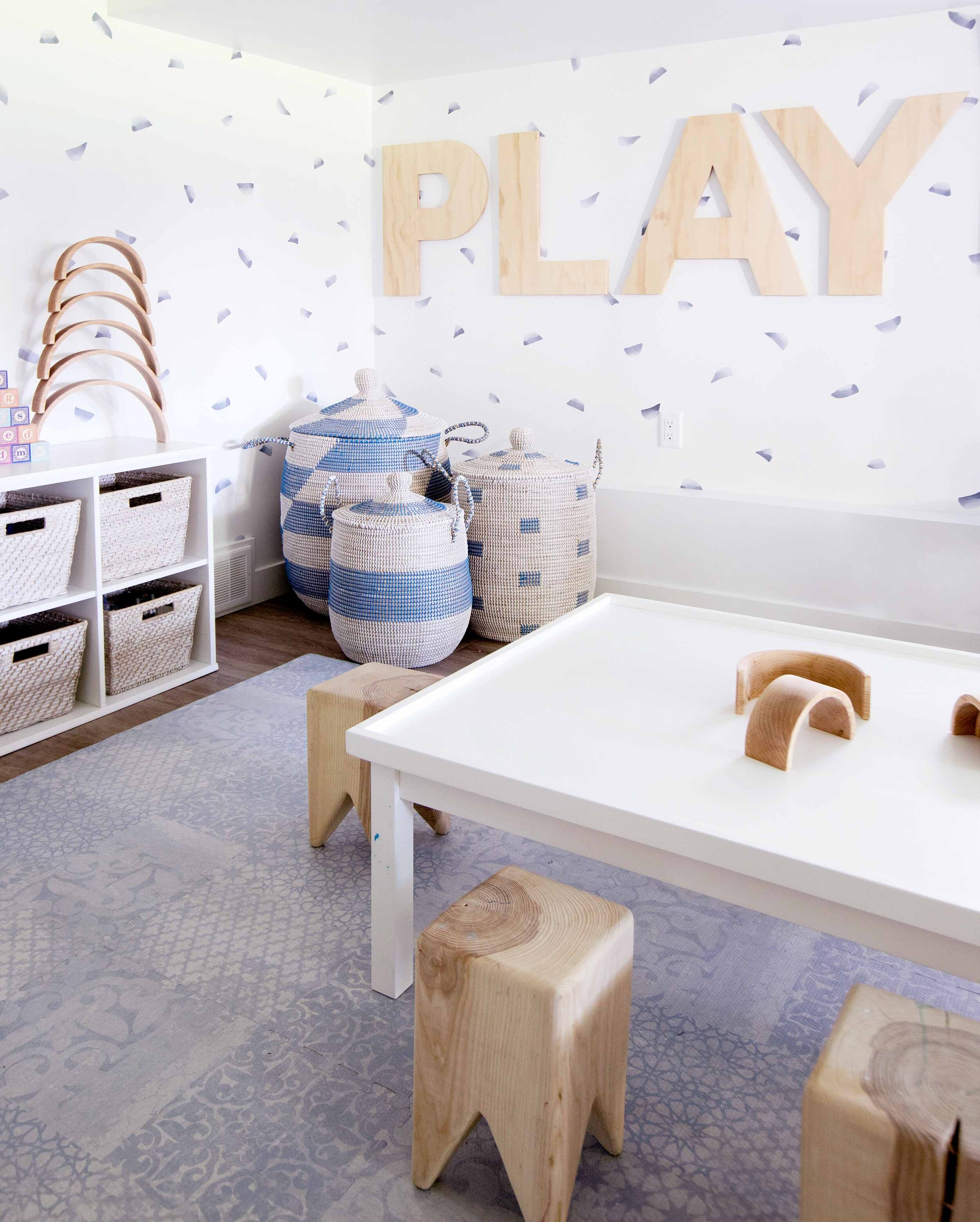 blue, wood and white playroom for kids