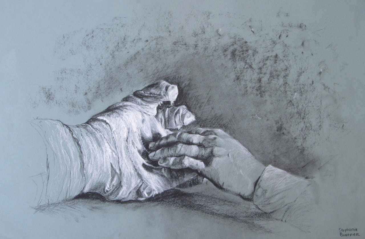 A drawing from real life reference using charcoal pencils