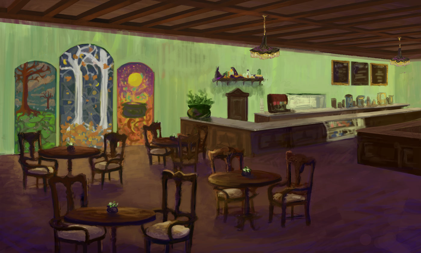 Witch's Brews - a tea and coffeehouse with an assortment of pastries and to-go items.