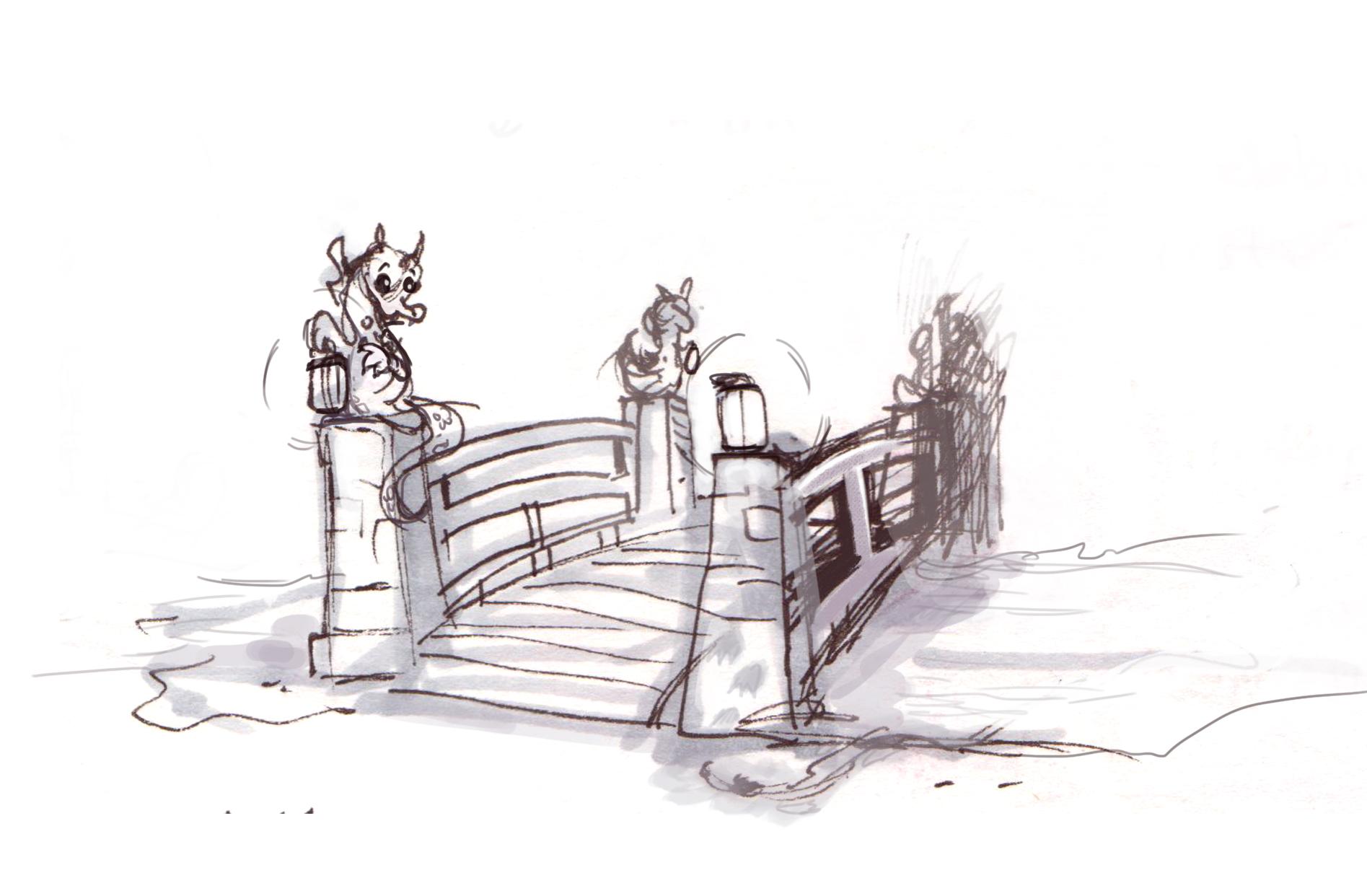 A bridge by the swamp pool