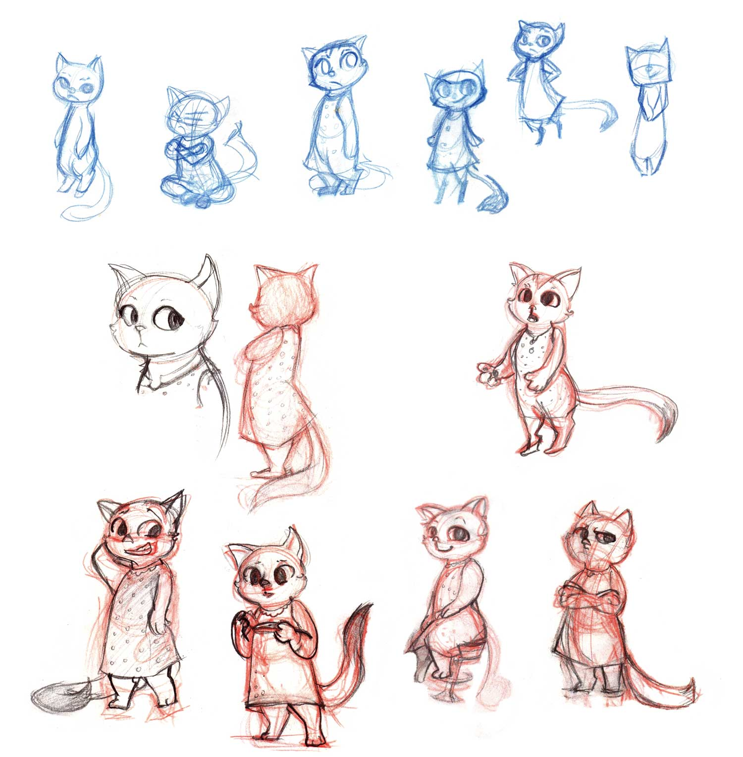 Exploration for a cat character for a children's book project.    Sketches done with col-erase and graphite pencils.