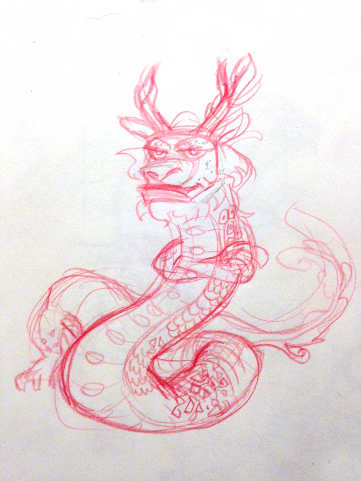 Designed this dragon character for a group comic. Done in red col-erase pencil.