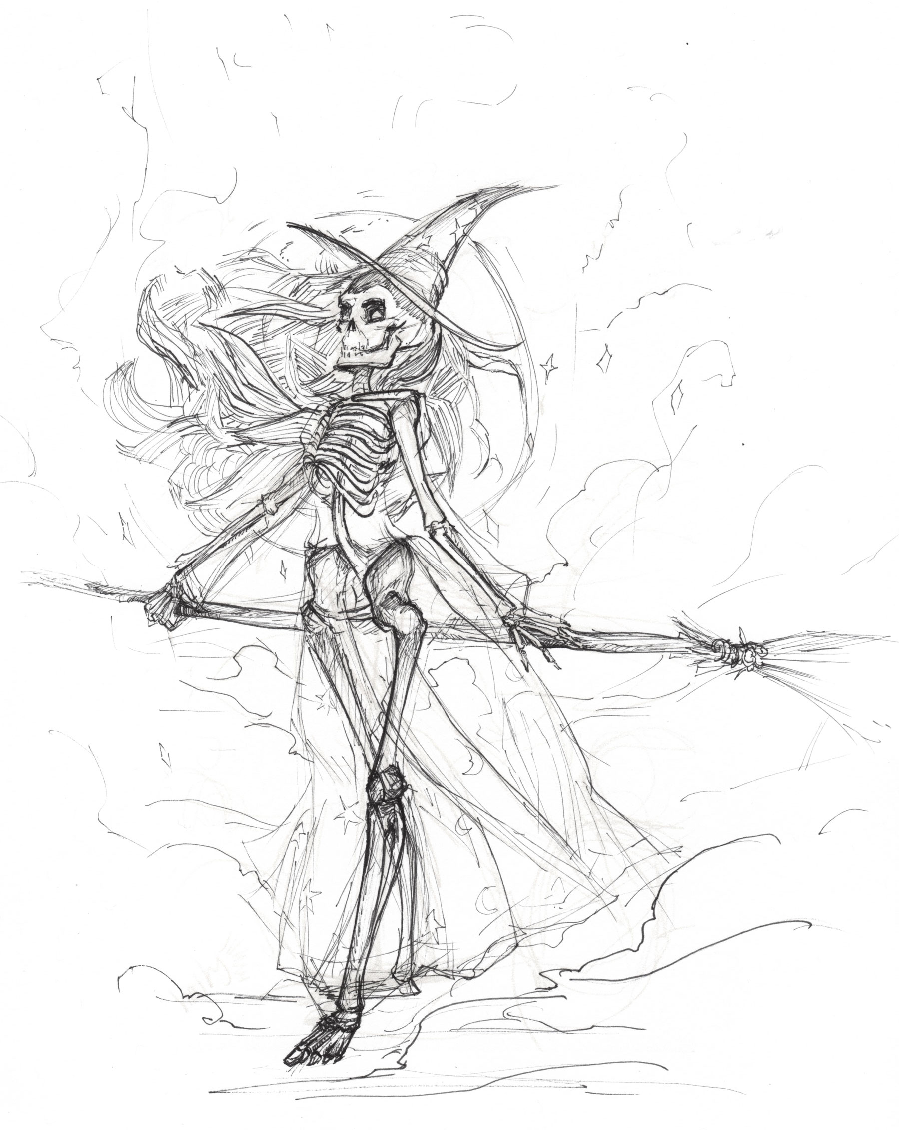 """Bones""  Drawn with micron pens."