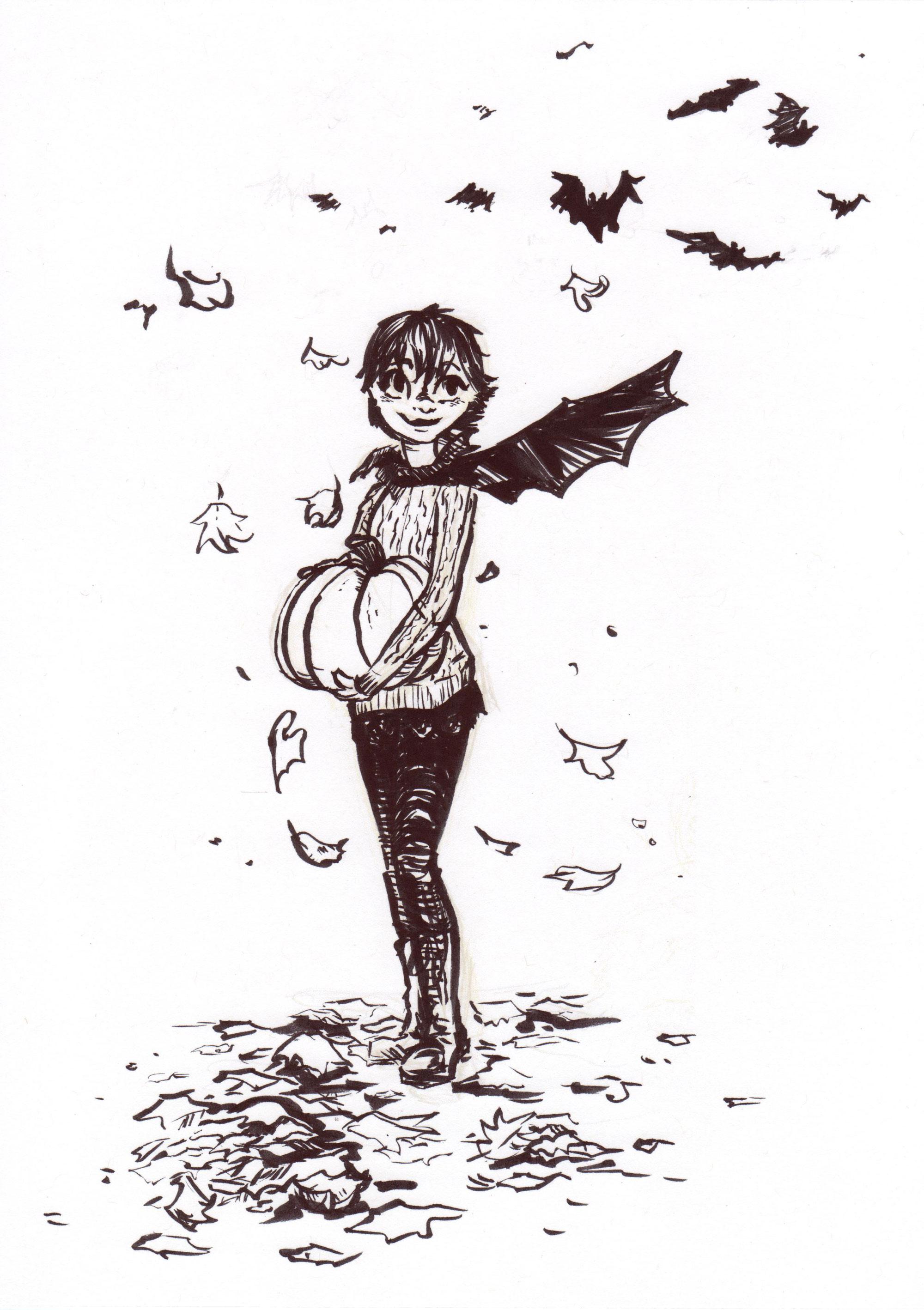 """""""Bat wings"""" using a ink brush pen"""