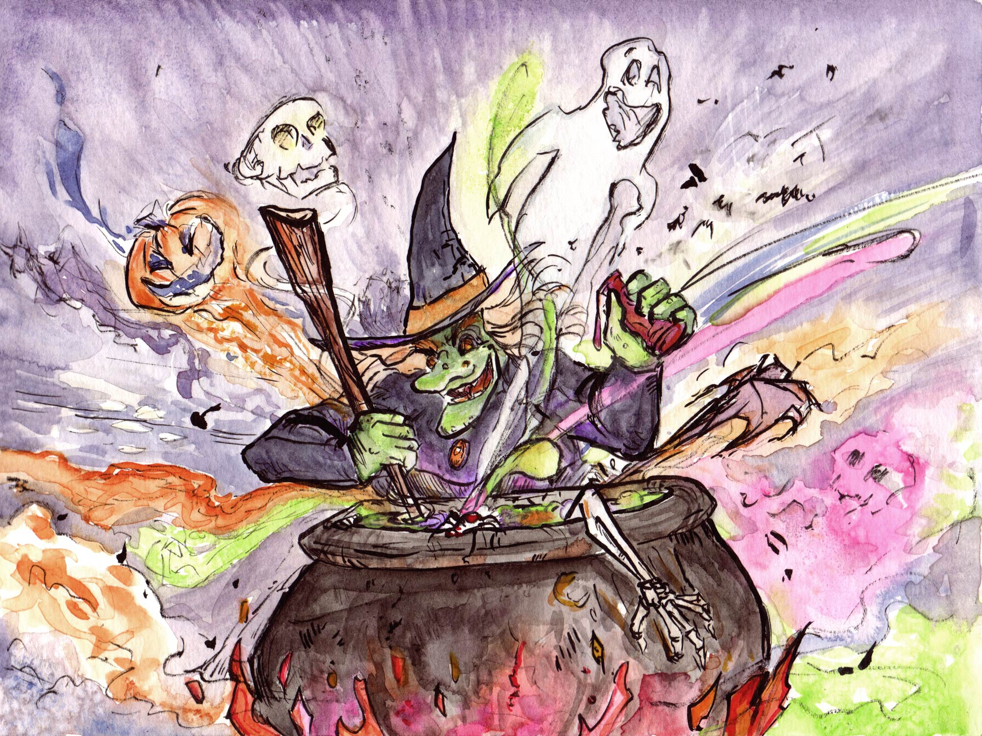 """""""Cauldron""""  Watercolor and ink."""