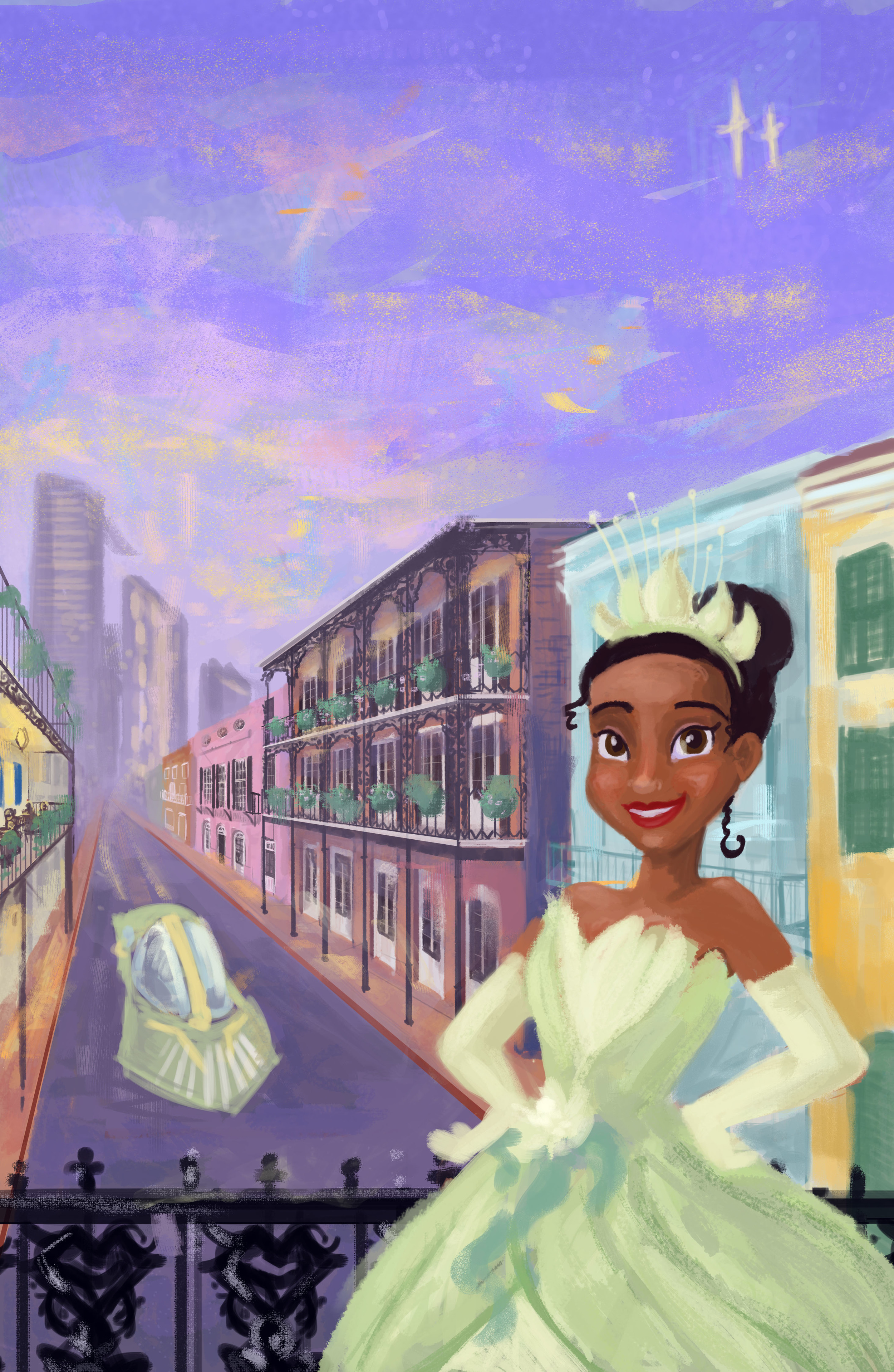 Paint the Town with Tiana in New Orleans!  We believed that this concept could easily be adapted to other cities and special events. This is the travel poster, without words,for New Orleans