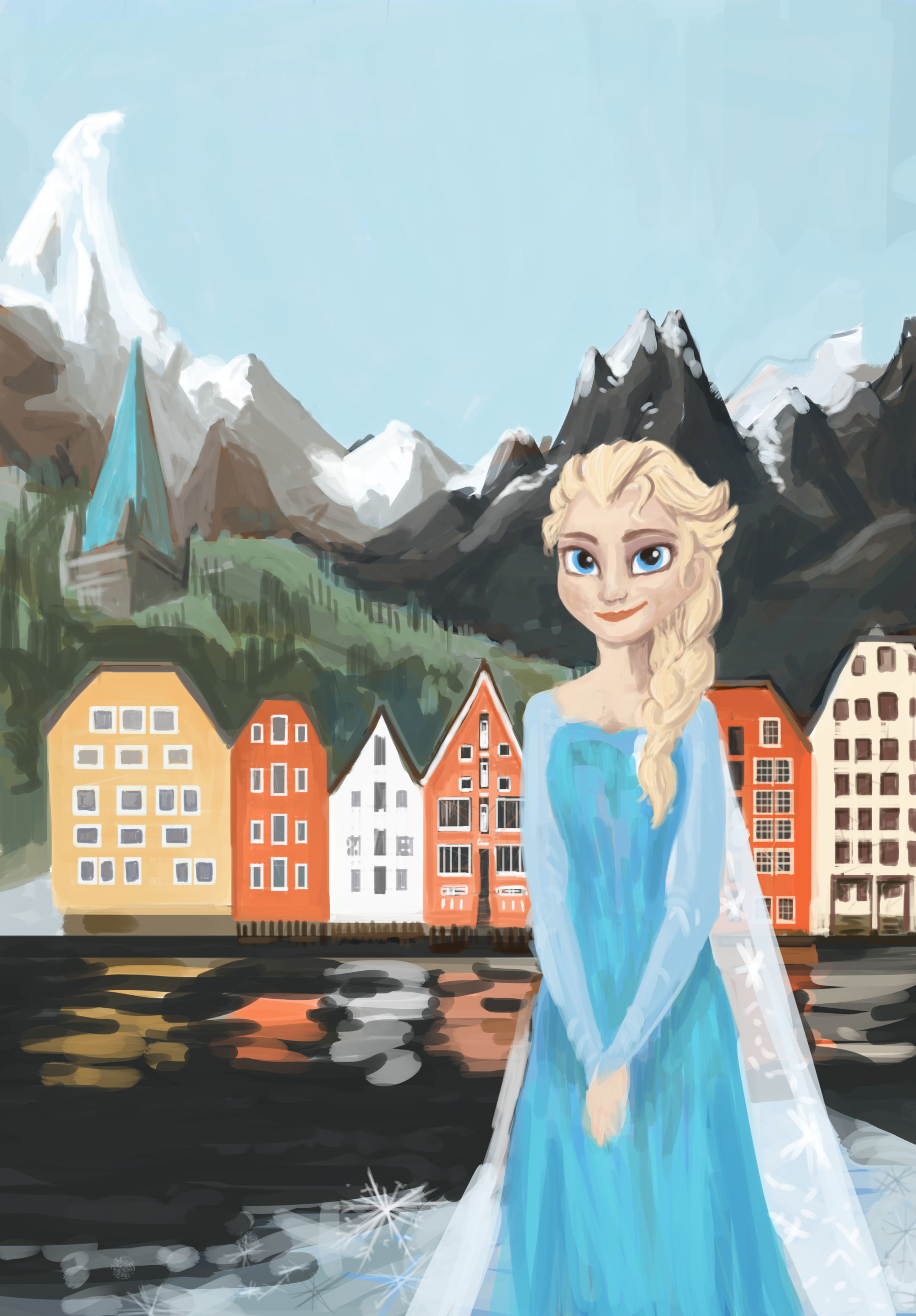 We believed that this concept could easily be adapted to other cities and special events. This is the Elsa version of theposter for Trondheim, Norway that we ended up switching to Olaf.