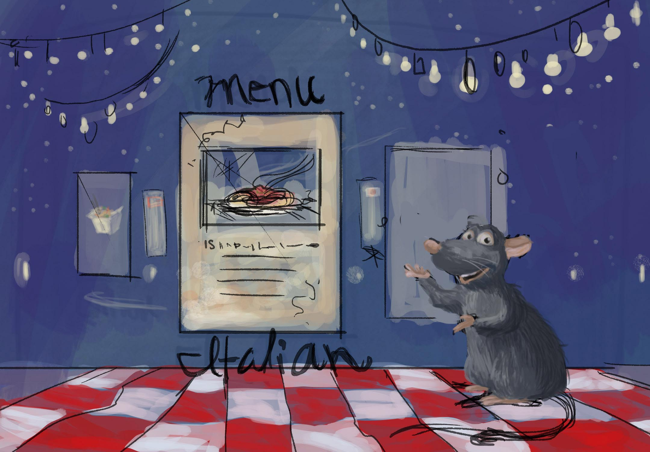 We believed that this concept could easily be adapted to other cities and special events. This was a quick concept sketch for a special food event featuring Remy from Ratatouille. Here he is showing the guests different menus they can choose from.
