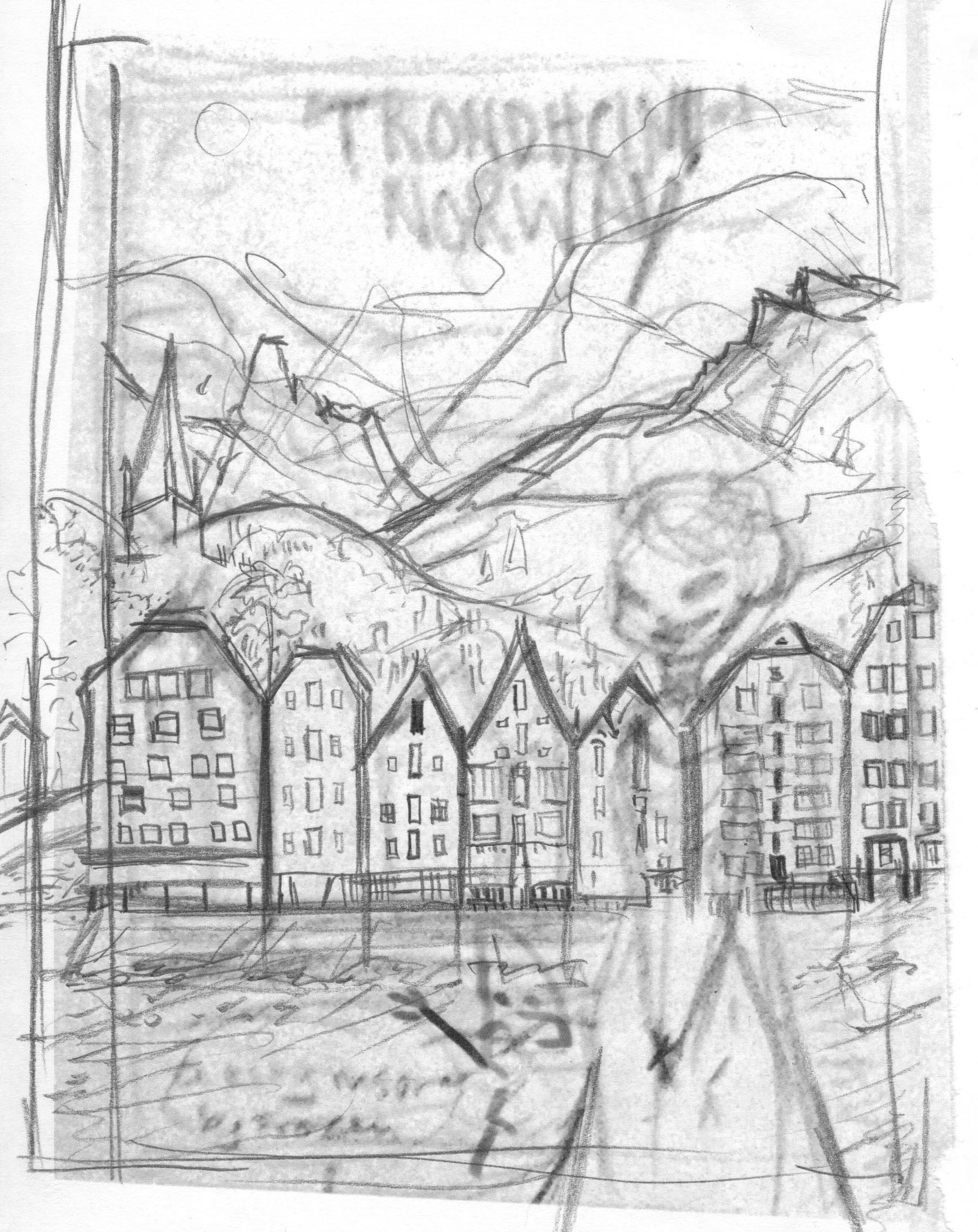 Sketch for the travel poster for Norway