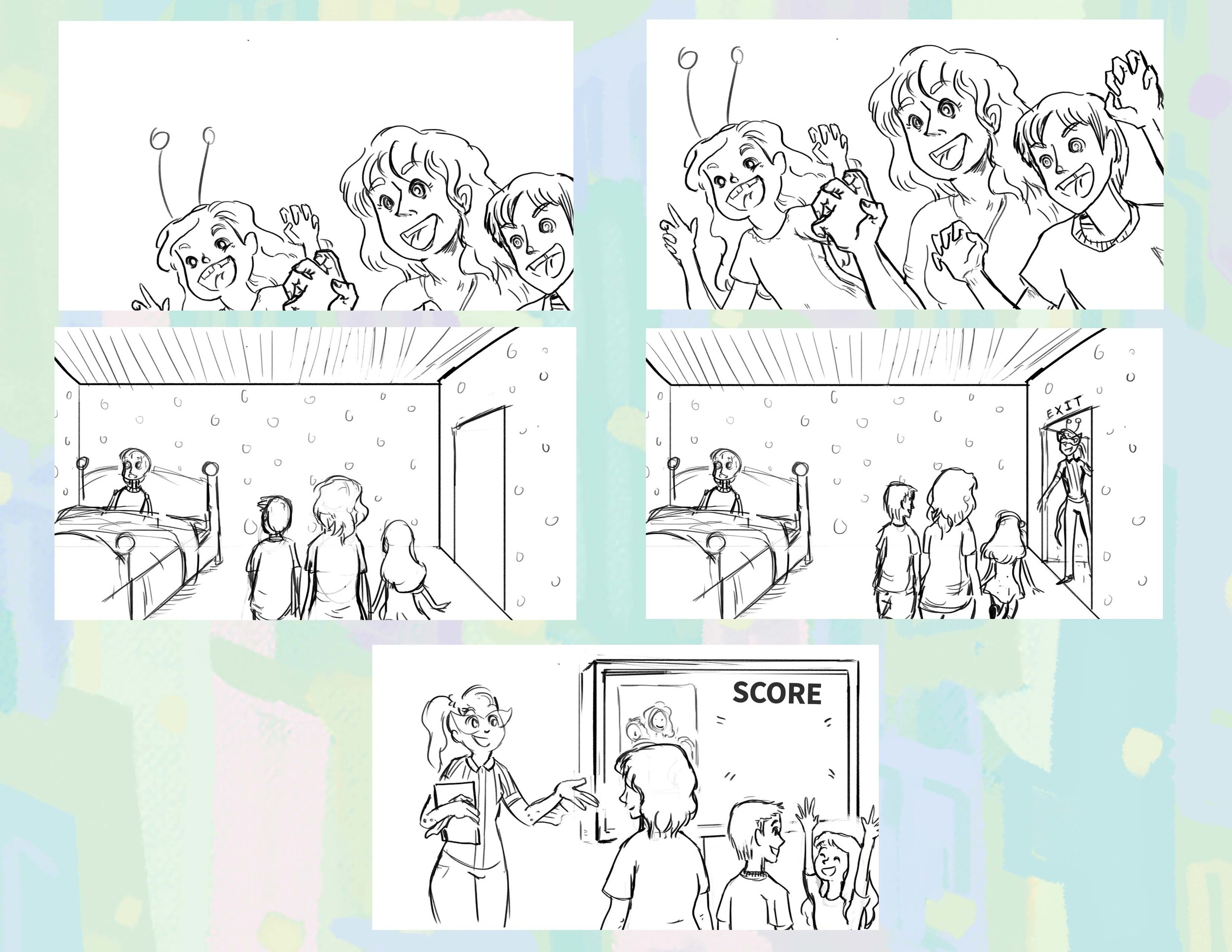 Simulated Scare Animatic Drawings  The team scares the child simulator, are escorted out by the referee and given their score!  Photoshop