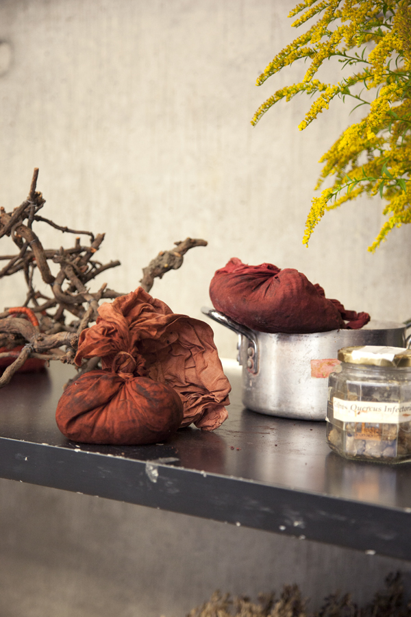 Bundles of madder root as part of our V&A working installation