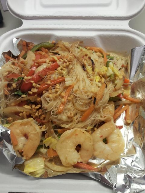 Coconut Shrimp noodle bowl - served in cardboard, no less