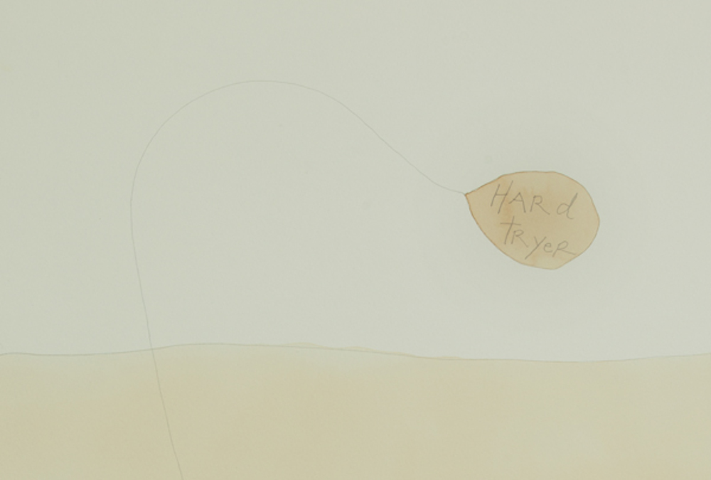 """""""Hard Tryer"""" (detail), watercolor, coffee and pencil on paper, 80 x 60 cm."""