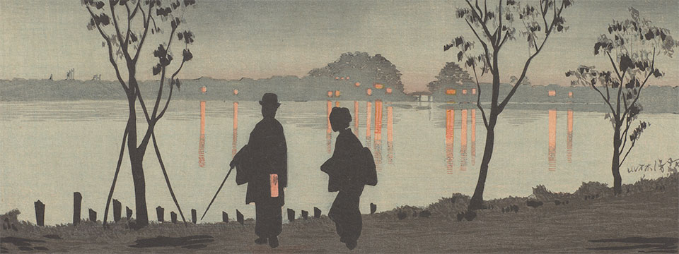 Detail,   Sumida River by Night,   Kobayashi Kiyochika; Japan, 1881; Woodblock print