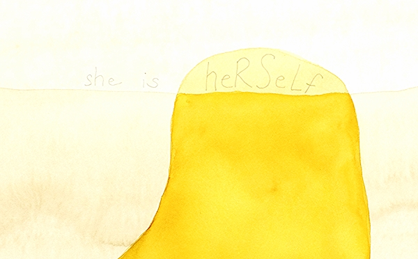 "Kelly O'Brien, ""She is Herself,"" watercolor, coffee and pencil on paper, 2013"