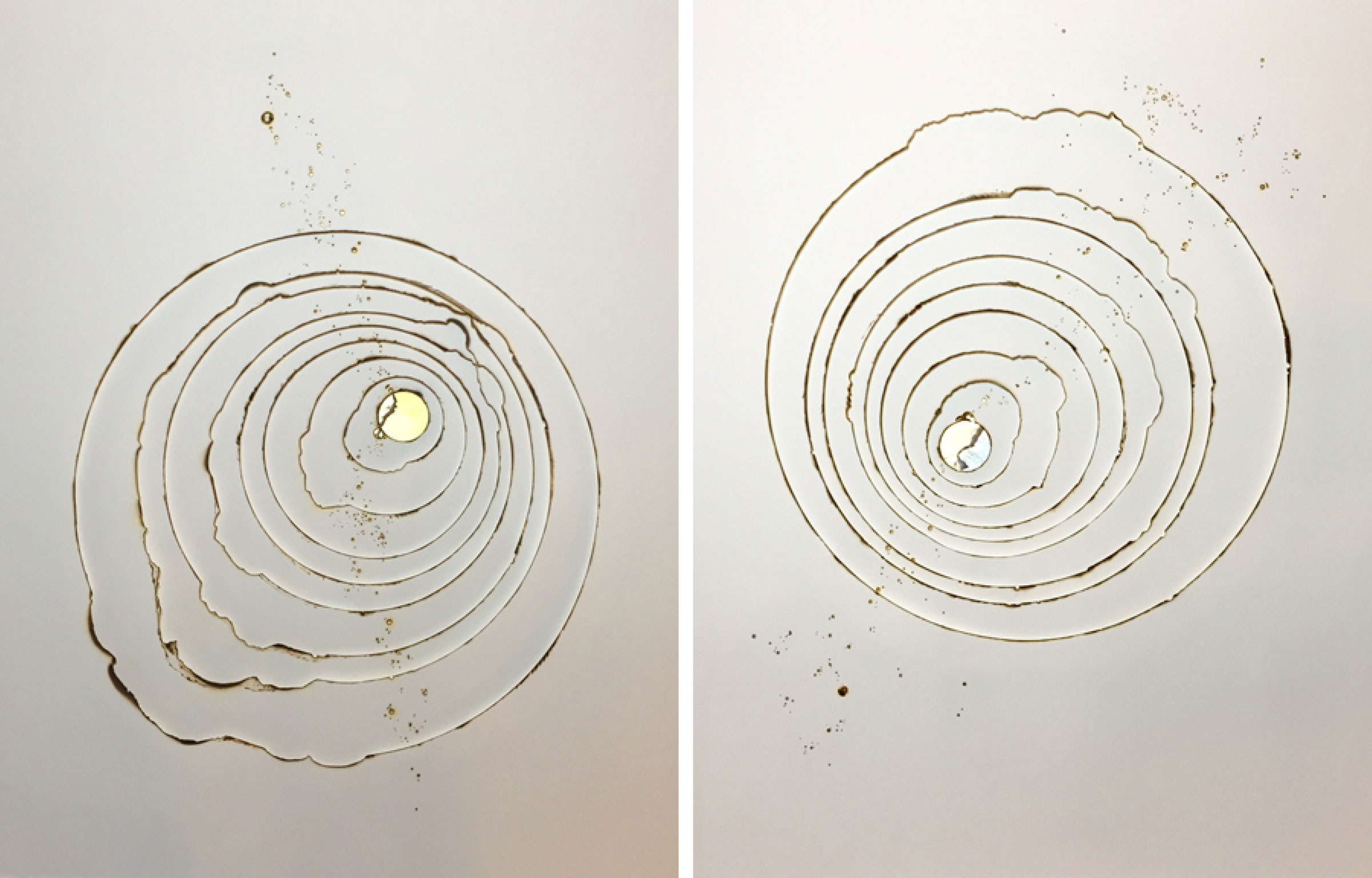 Kelly M. O'Brien,  Playing With Fire No. 14  and  No. 15 . Paper, gold leaf, flame. 30 x 24 inches each. ©2015.