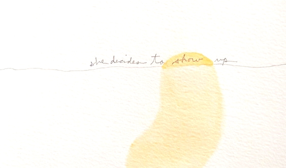Kelly M. O'Brien,  She Decides to Show Up . Watercolor, coffee and pencil on paper. 20 x 15 cm. ©2013.