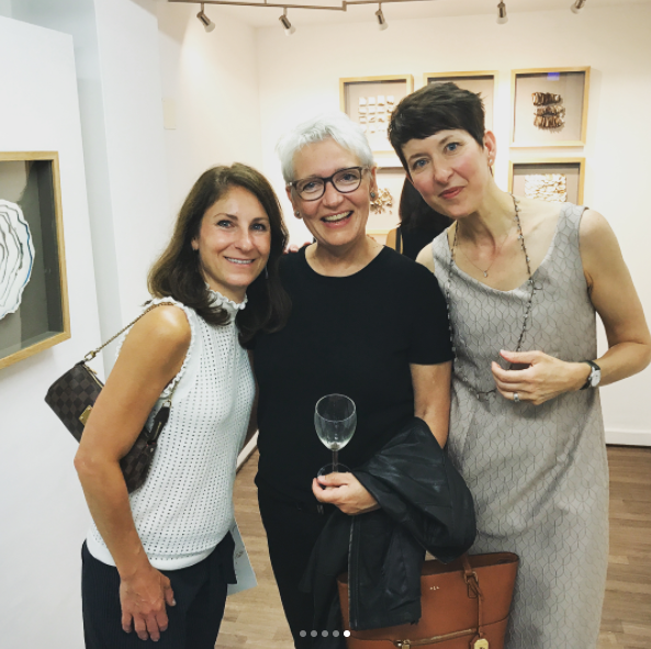 Monica Pecoraro, Lene Beier, and Kelly O'Brien. Opening night of  Playing With Fire  solo exhibition at Galerie Uhn, Königstein-im-Taunus, Germany. Kelly M. O'Brien ©2017. Image: Søren Beier