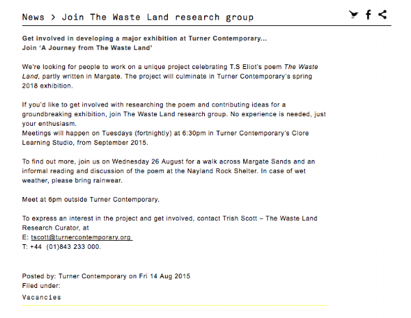 Screenshot, call for volunteers, Turner Contemporary blog.