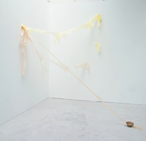 Kelly M. O'Brien, Between You and Me . Paper, thread, tulle, pins, rock. 250x230x90 cm | 98x90x73 inches. ©2018.