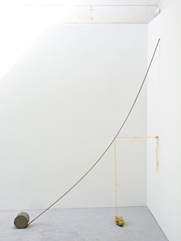 Kelly M. O'Brien, Stronger Than You Think . Tulle, thread, steel, cast concrete, rock. 213x183x10 cm | 84x72x4 inches. ©2018.