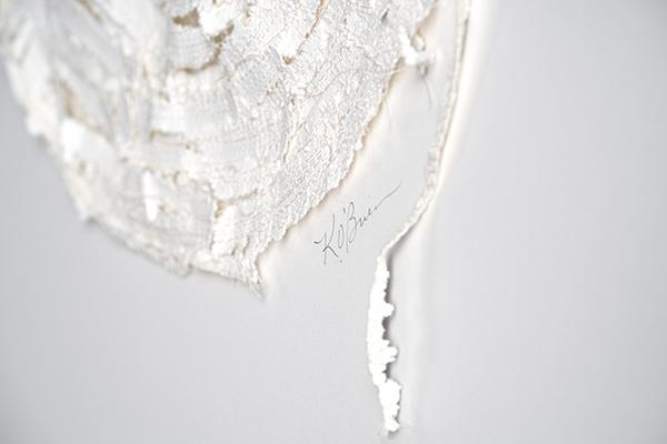 Kelly M O'Brien,  Stitch No. 1  (detail). Paper, cotton thread. 12 x 12 in | 30 x 30 cm. © 2019