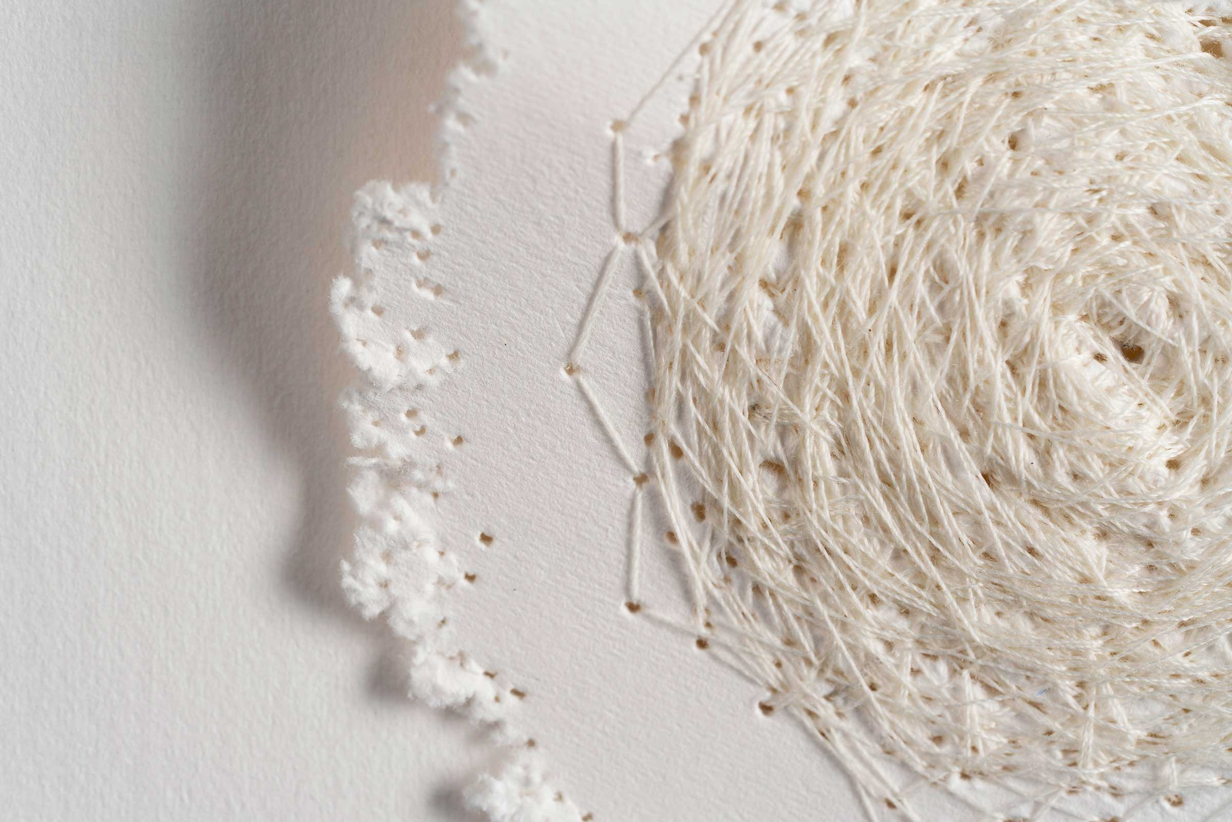 Kelly M O'Brien,  Stitch No. 2  (detail). Paper, cotton thread. 20 x 27.5 in | 50 x 70 cm ©2019