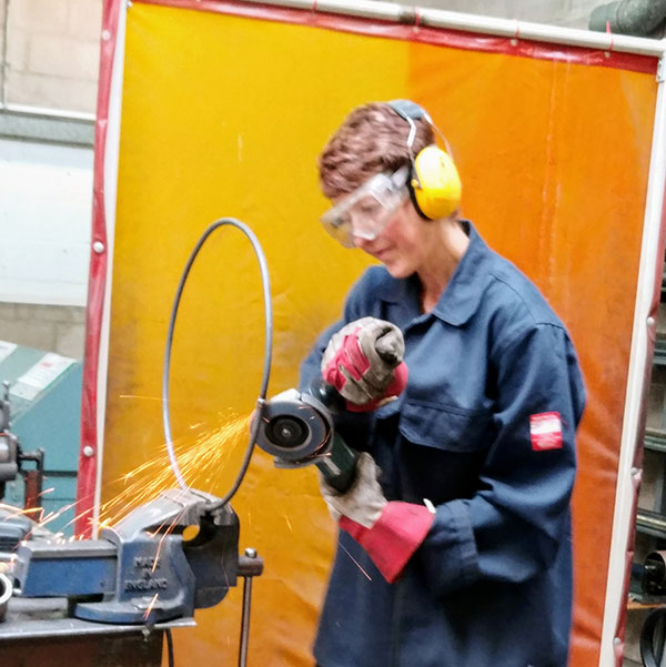 Action shot in the metal workshop at Bath Spa School of Art. Image: Donna O'Brien