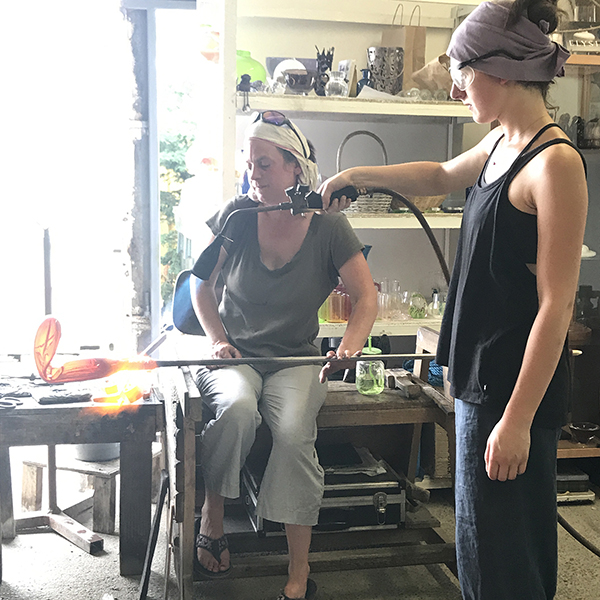 Working in Sonja Klinger's (left) 49 C / 125 F degree studio, assisted by Lolita Diot-Parslow. ©2019