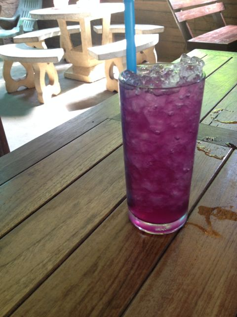 The drink that started it all. An acid, like lime shifts the colour to purple.
