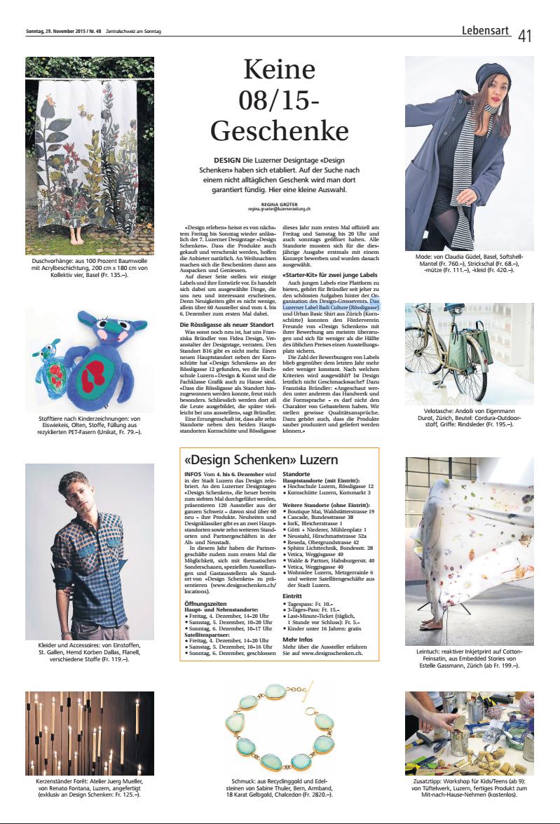 LuzernerZeitung_29_November_2015_Lebensart