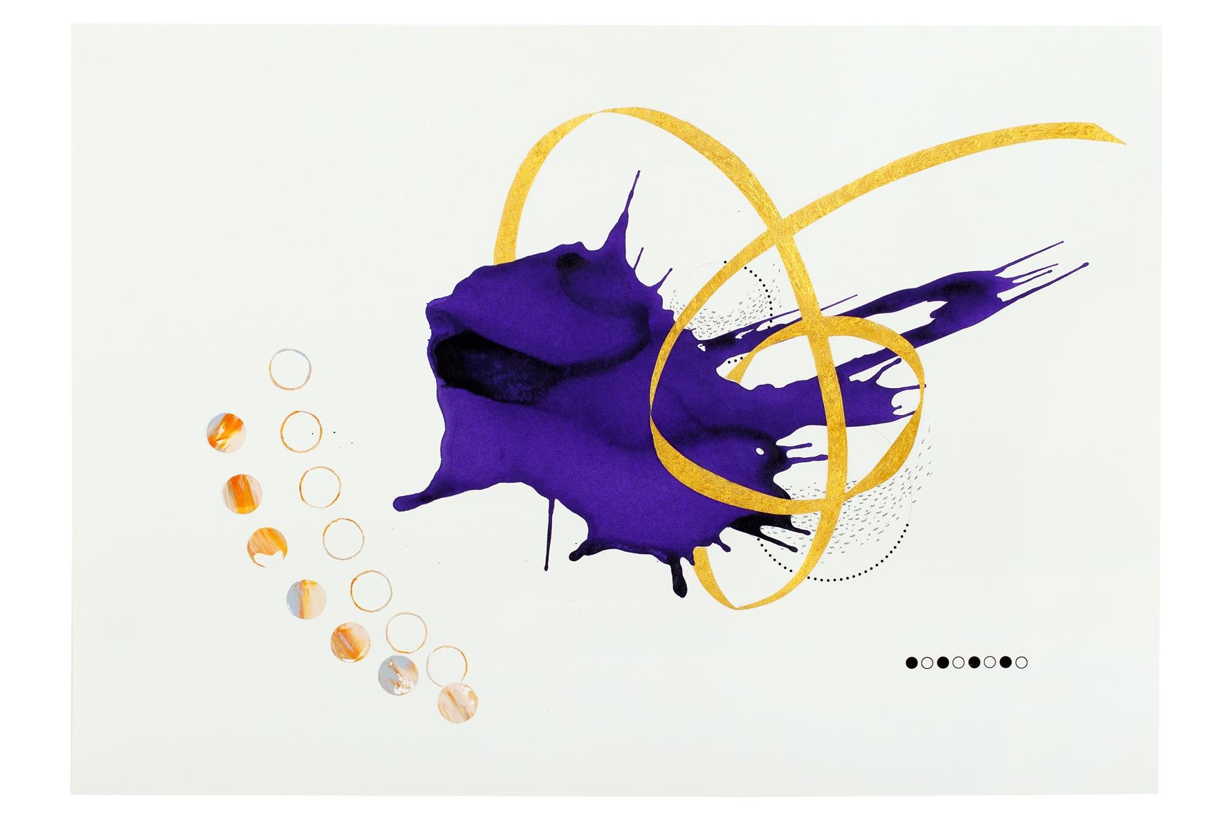 Purple ink series #8  ink, acrylic, pen, pencil, gold powder on paper  59.5x42cm  2018