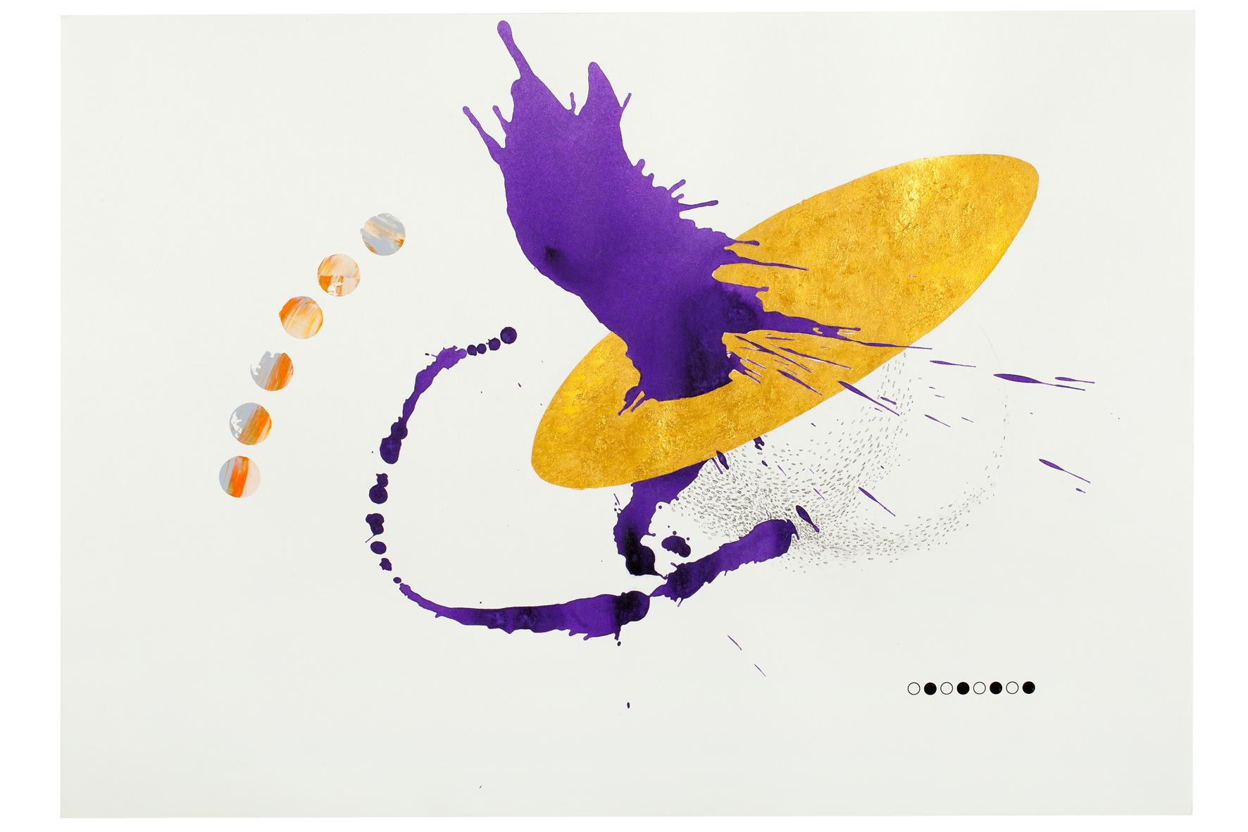 Purple ink series #10  ink, acrylic, pen, pencil, gold powder on paper  59.5x42cm  2018