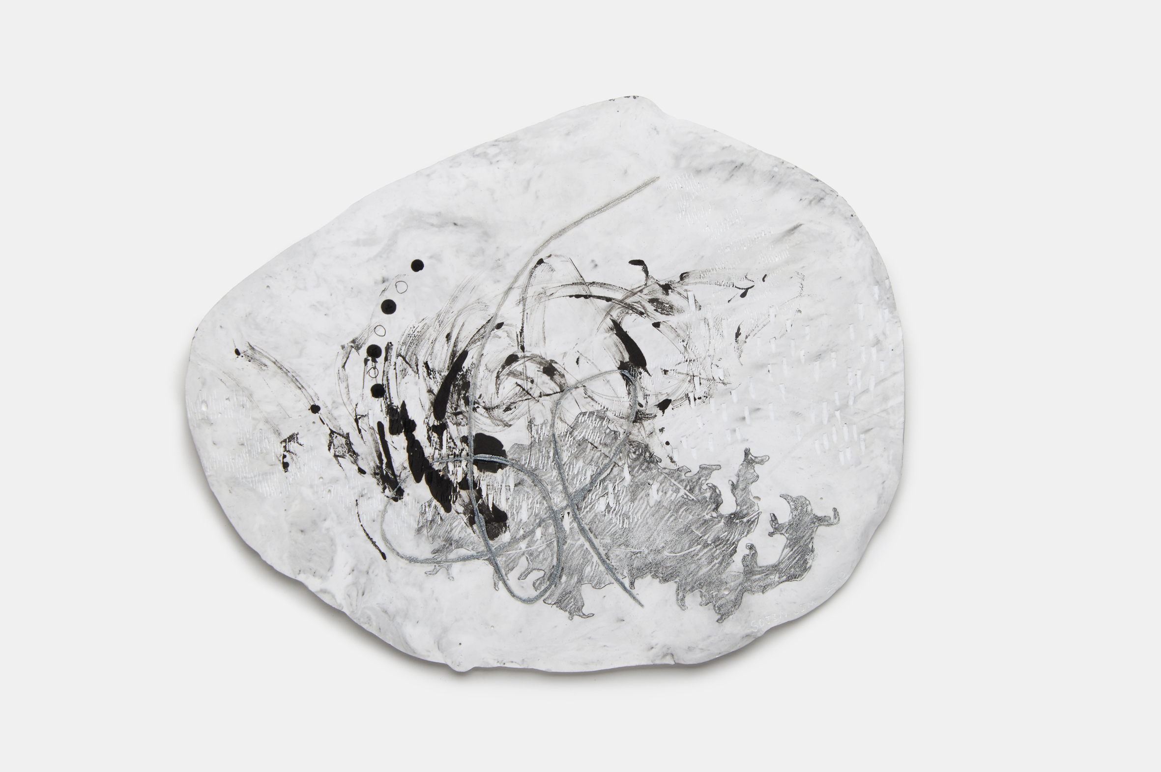 Vomit series #1  Engraving on plaster panel, mixture of ink and dry materials, silver sumi ink, pencil 24x19cm 2018