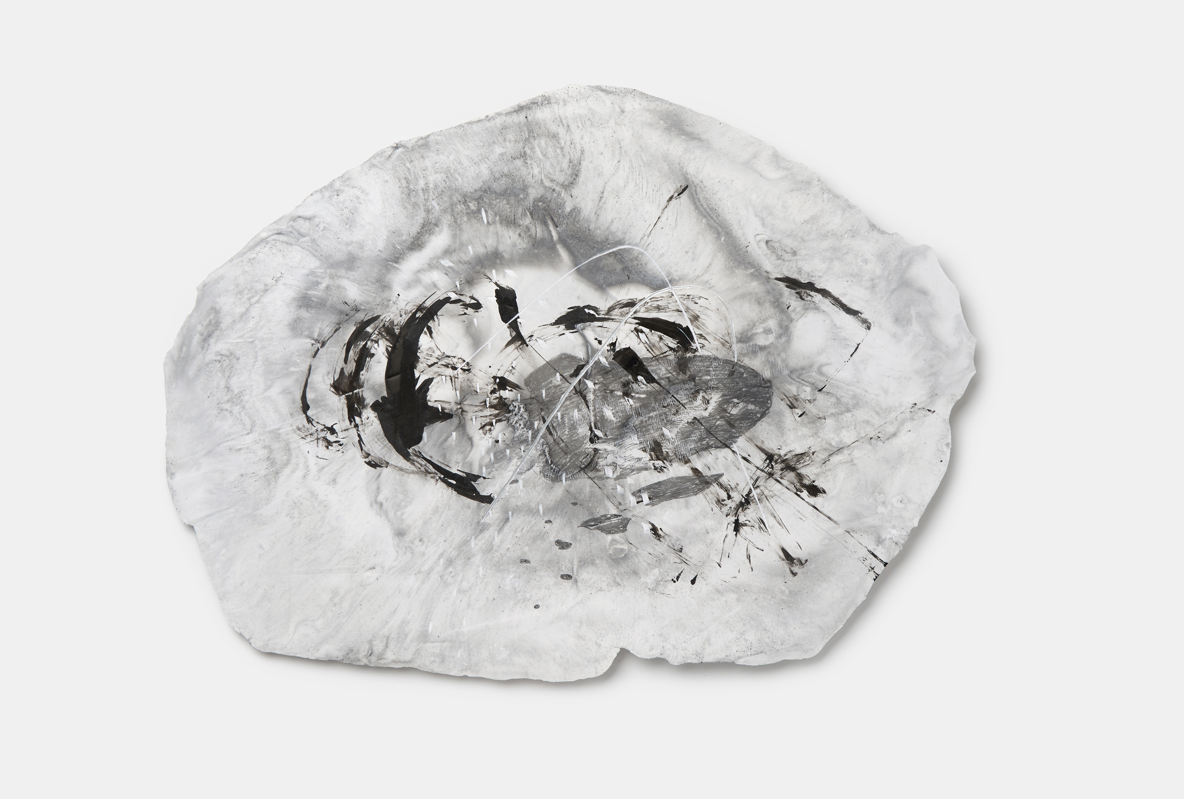 Vomit series #2  Engraving on plaster panel, mixture of ink and dry materials, silver sumi ink, pencil 46x34cm 2018