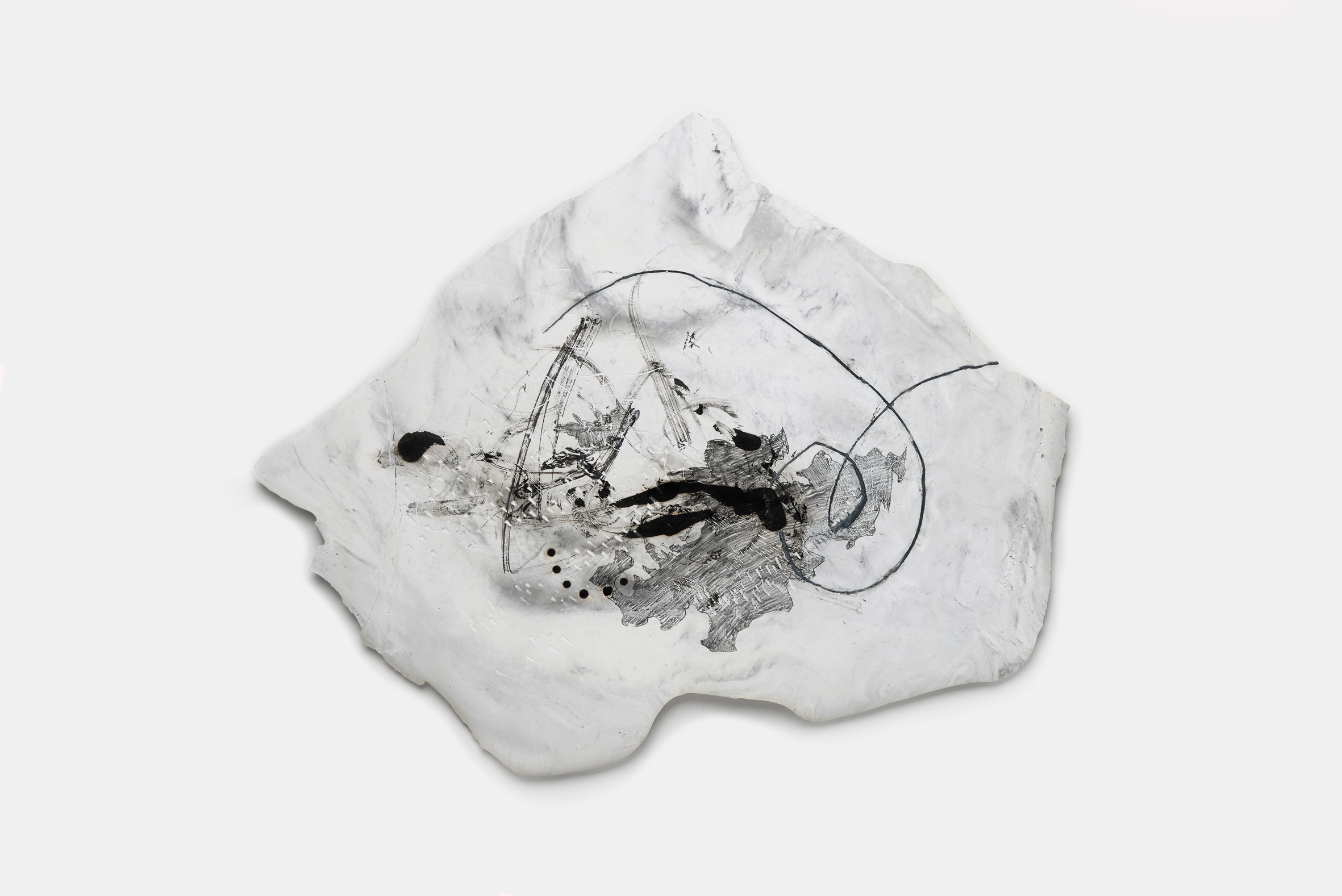 Vomit series #3  Engraving on plaster panel, mixture of ink and dry materials, silver sumi ink, pencil 41x36cm 2018
