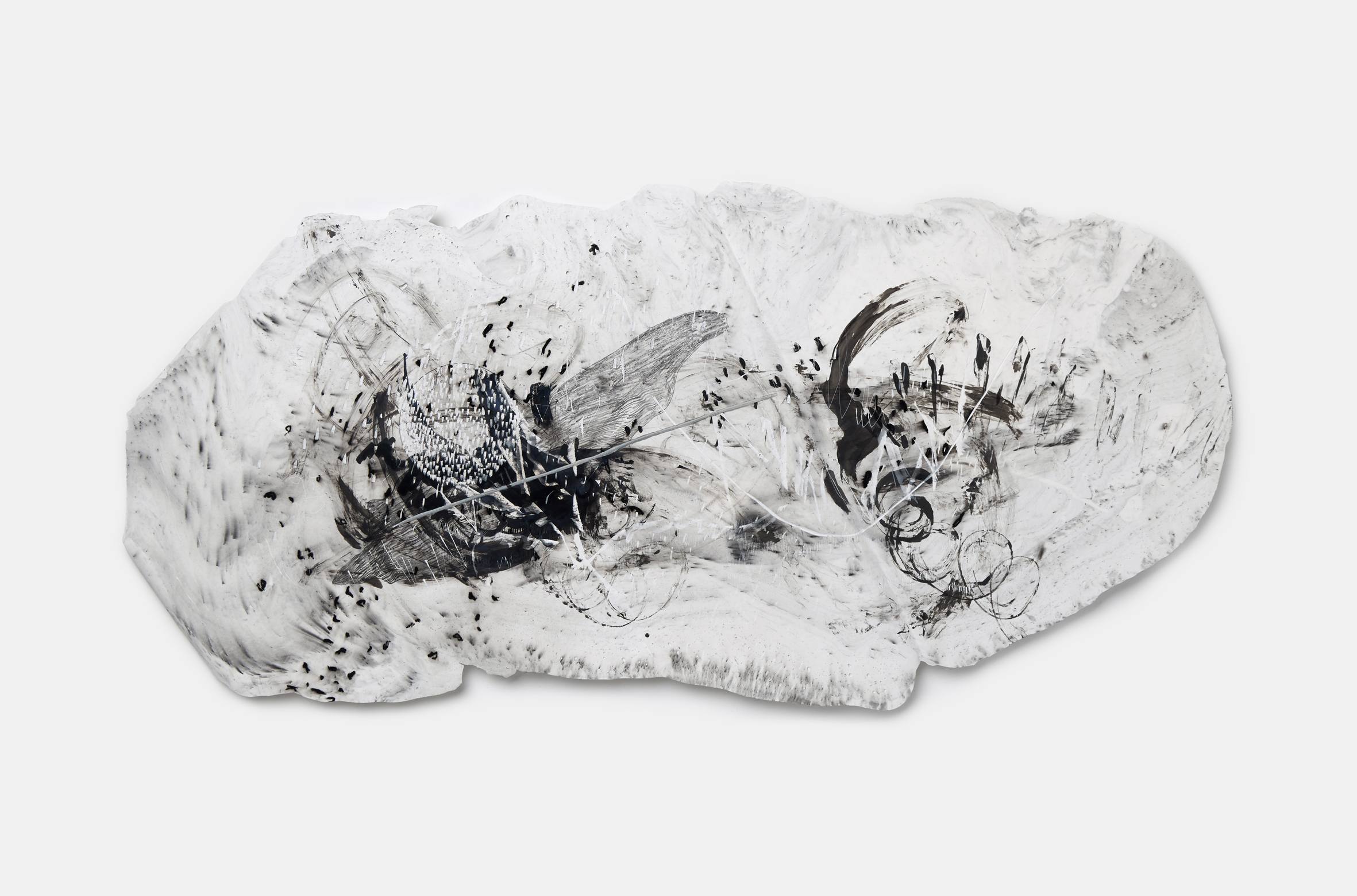 Vomit series #4  Engraving on plaster panel, mixture of ink and dry materials, silver sumi ink, pencil, oil pastel 68x33cm 2018