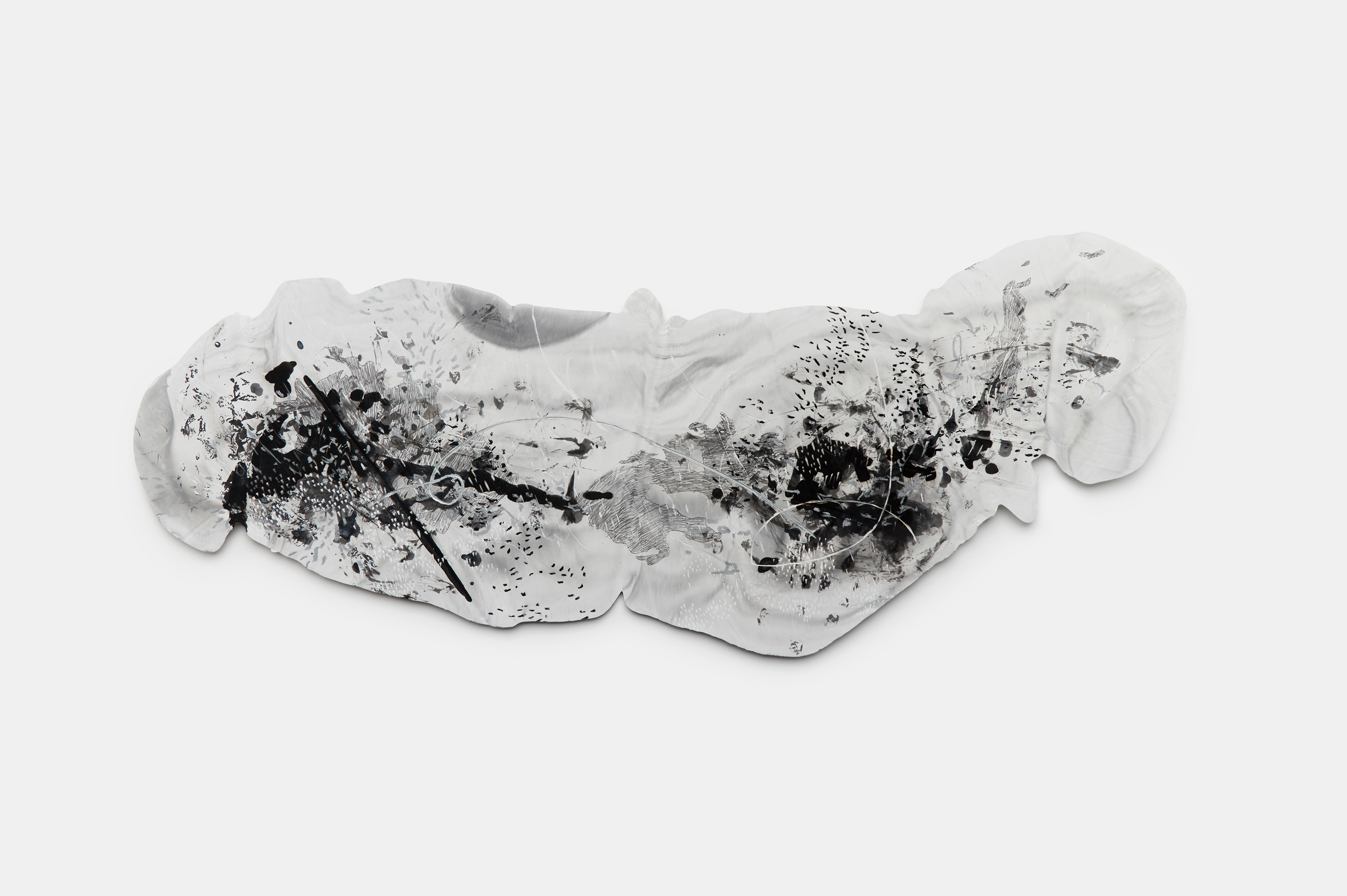 Vomit series #6  Engraving on plaster panel, mixture of ink and dry materials, silver sumi ink, pencil, oil pastel 100x38cm 2018