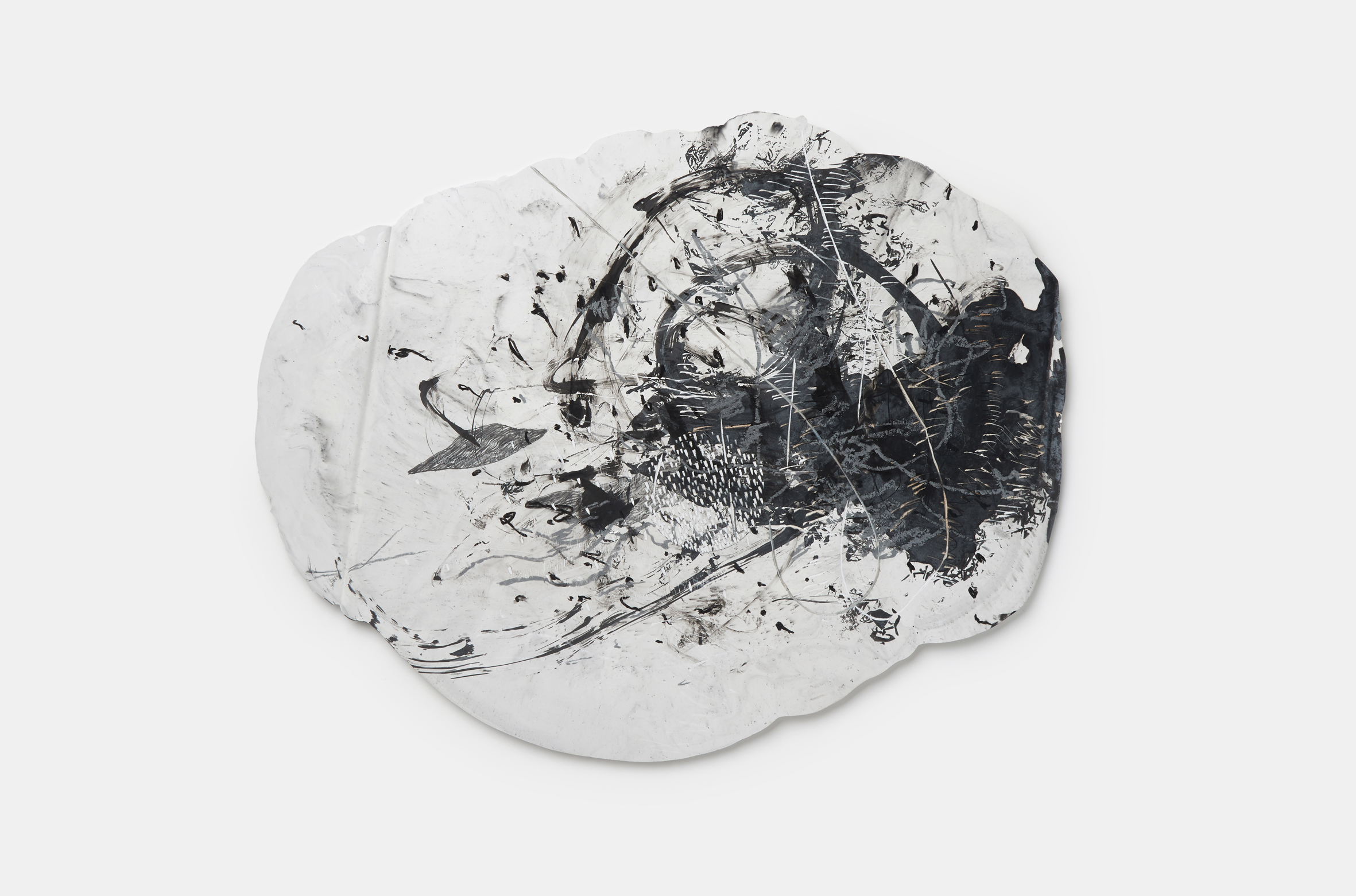 Vomit series #7  Engraving on plaster panel, mixture of ink and dry materials, silver sumi ink, pencil, oil pastel 57x43cm 2018