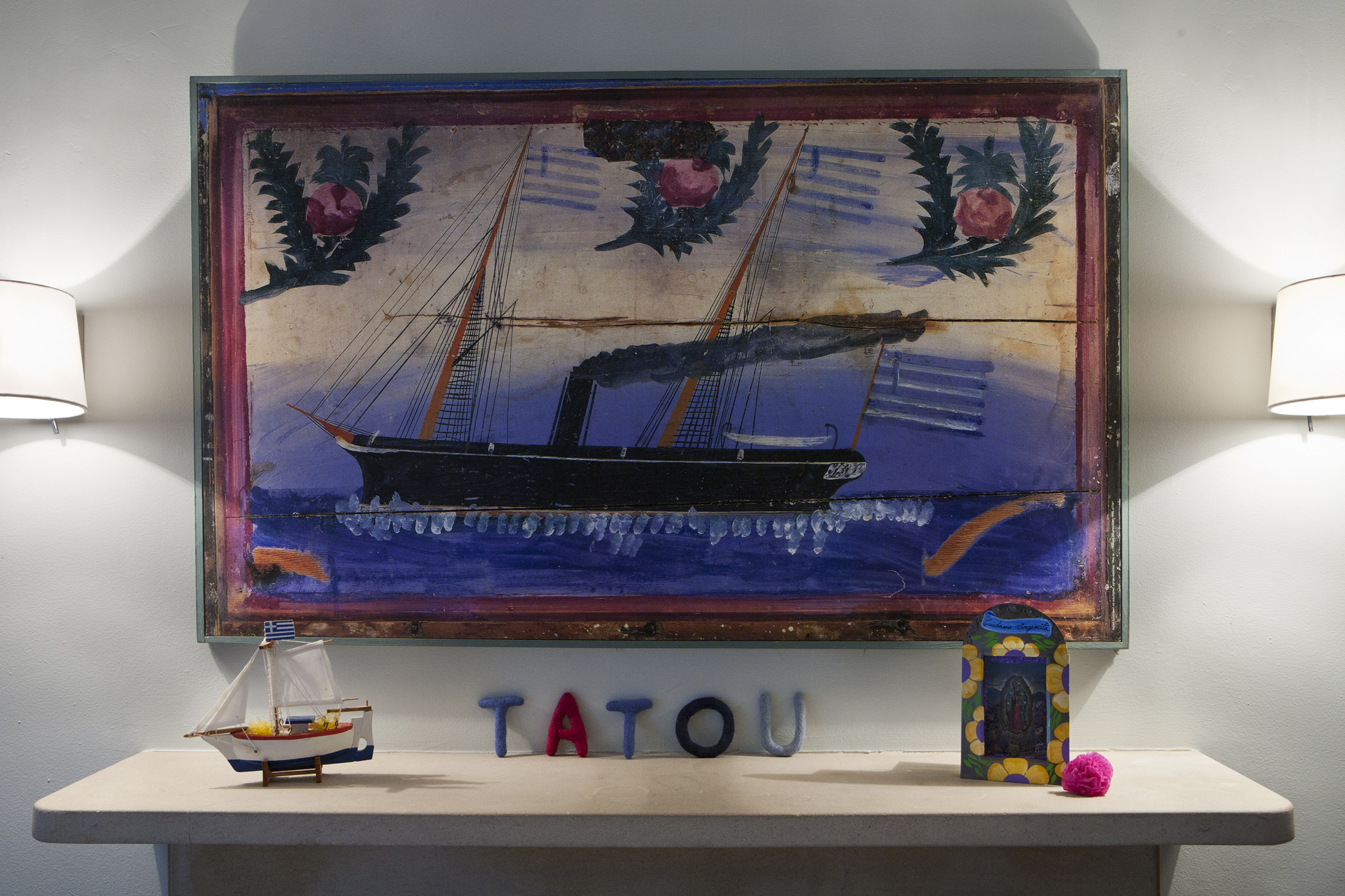 The boat painting originally hung in the bedroom belonging to the girls' father
