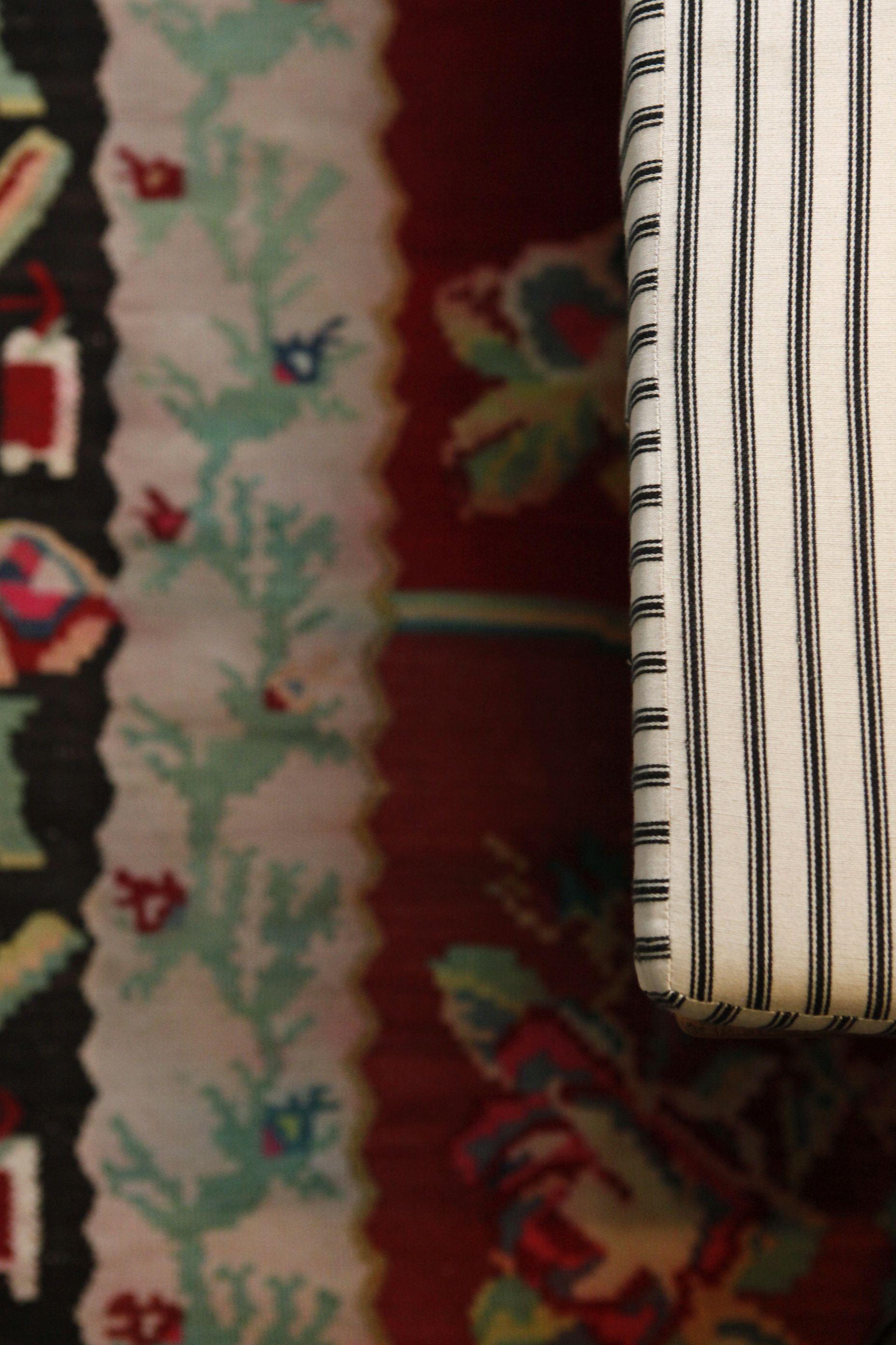 Ticking fabric & carpet from the Caucasus