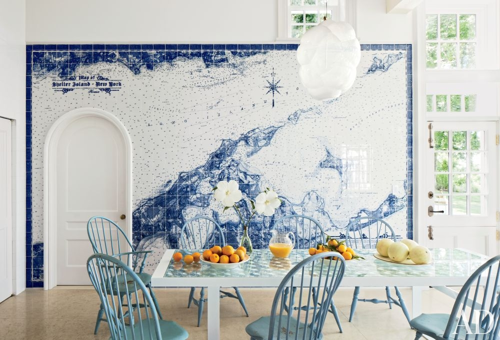 Tiled map of Shelter Island in this Long Island kitchen.