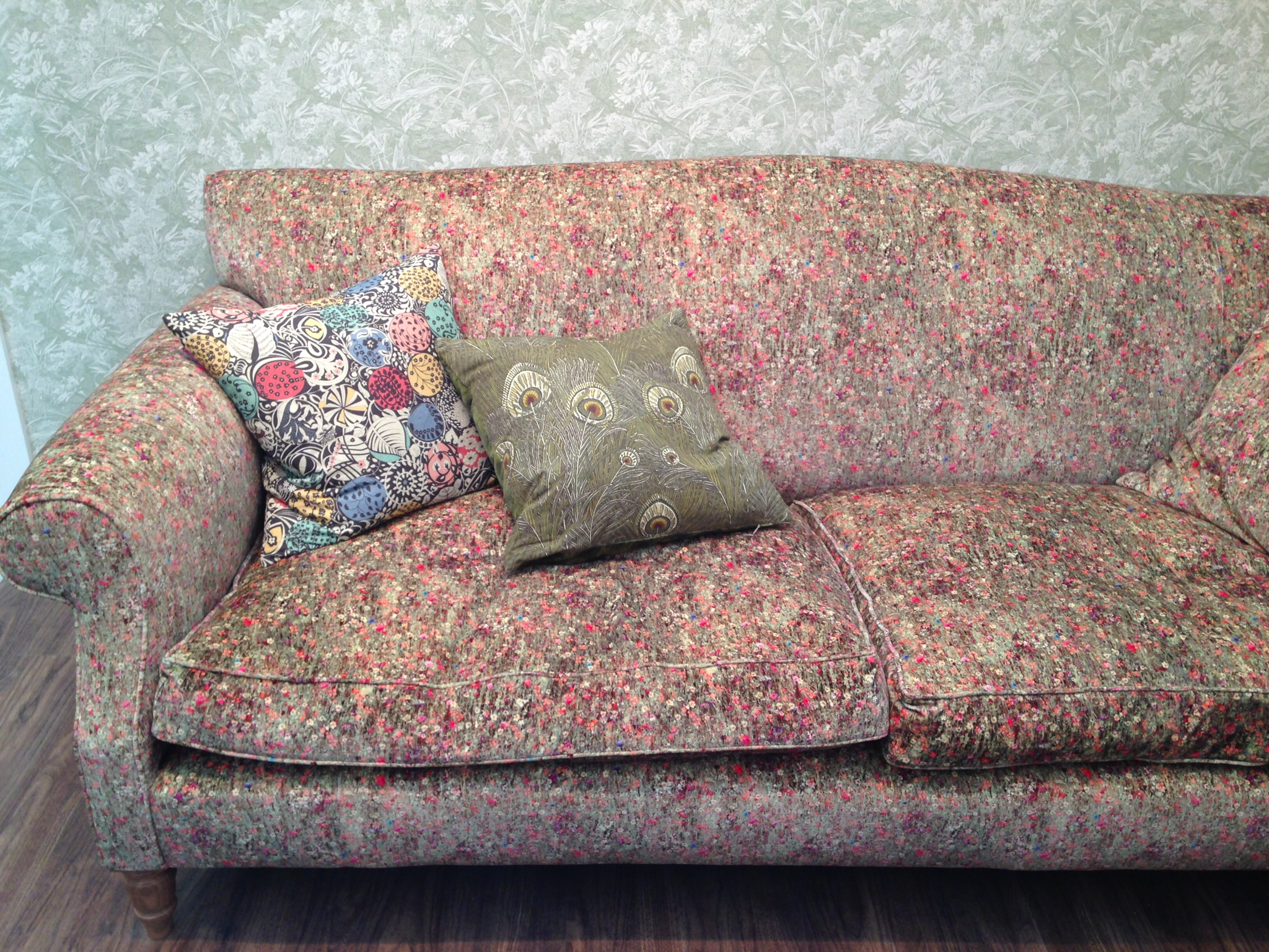 Liberty's 'Nesfield Collection' - their latest range of furnishing fabrics inspired by British landscape architect William Nesfield.     The sofa is covered in Floral Mawston Meadow Cottom Velvet in Velvet Pollen.