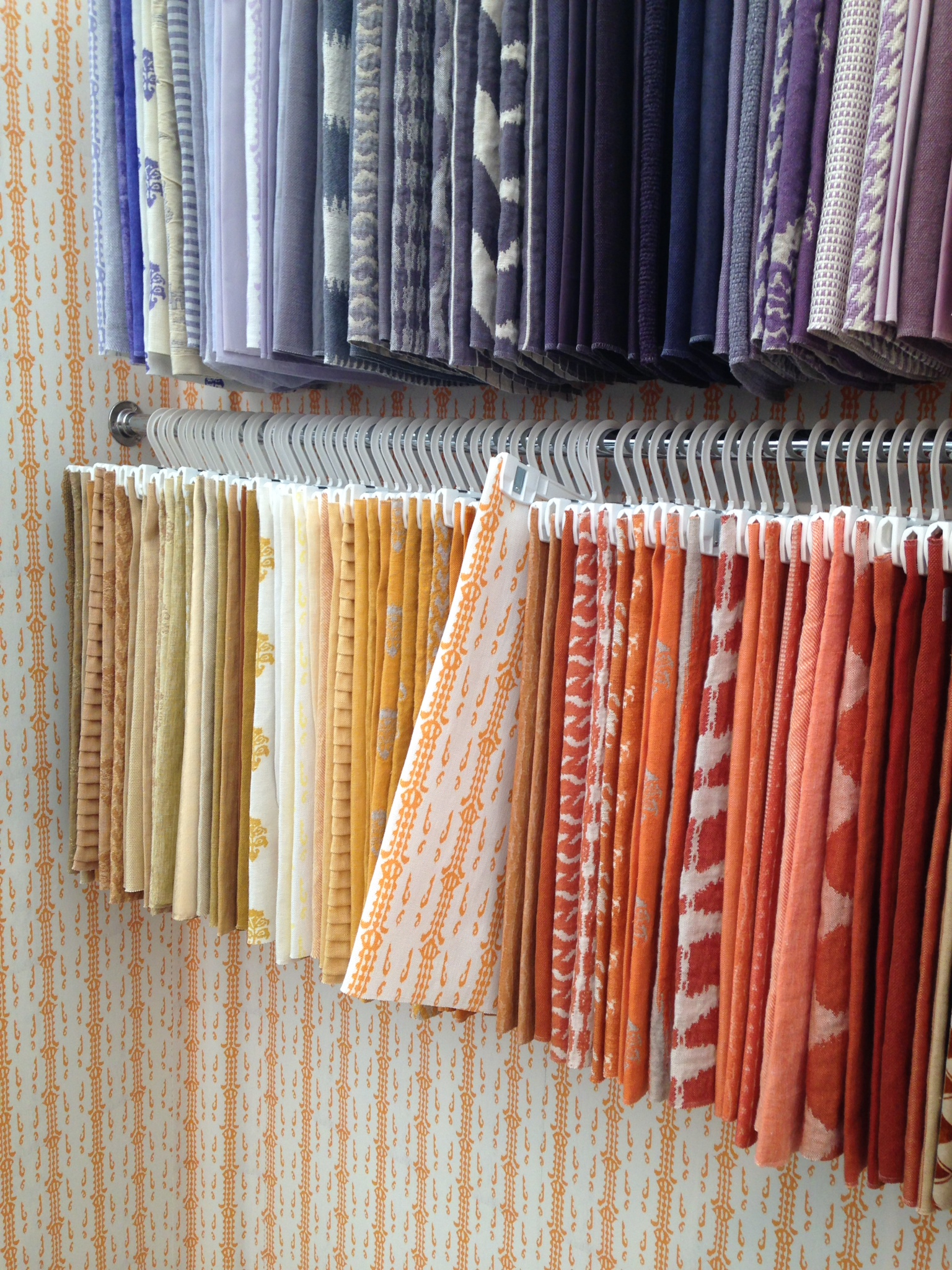 I'd quite happily live in a room decorated in C&C Milano's 'Apecar' fabric in orange, just as their stand was.