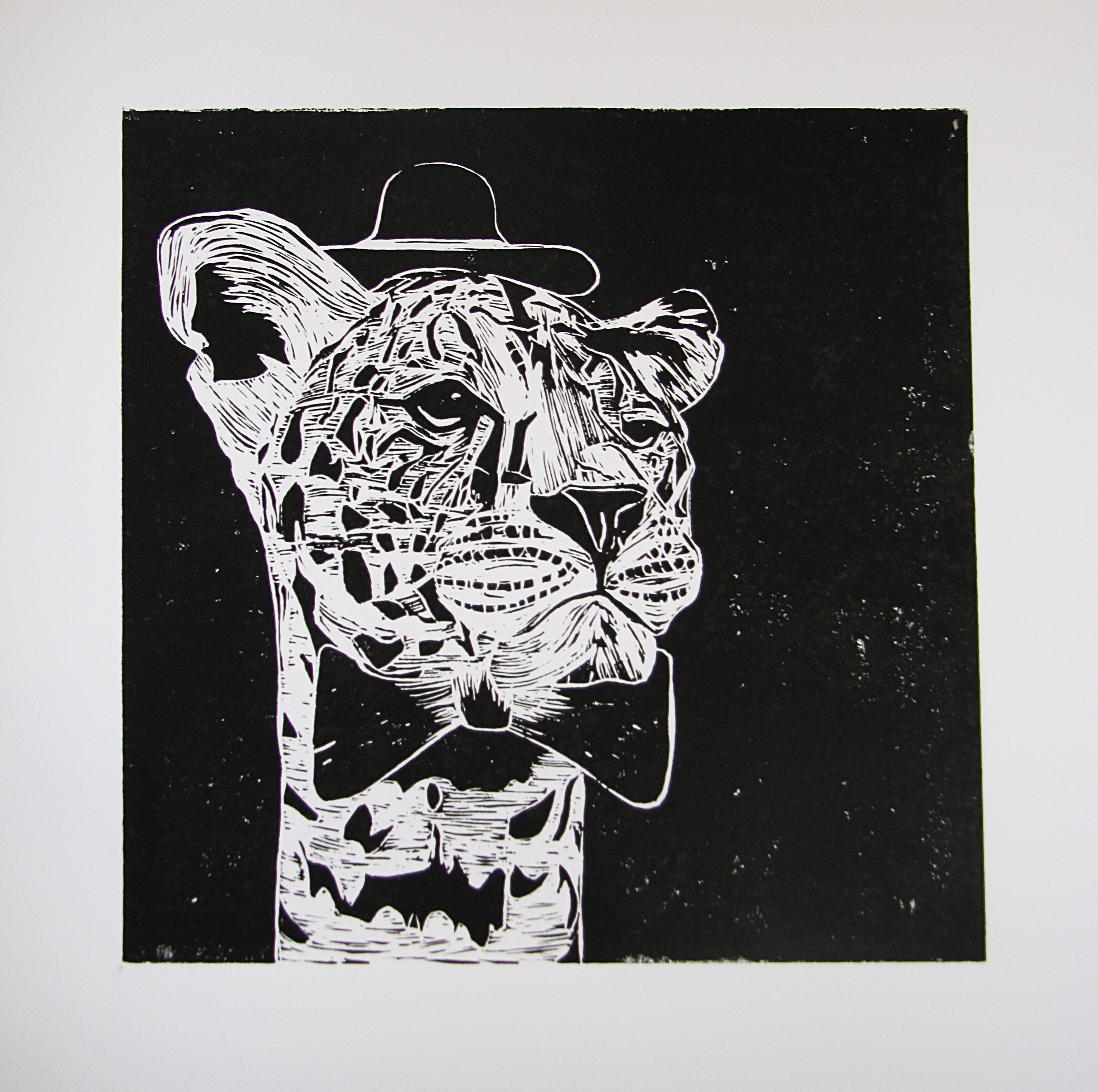 'Mr. Leopard', linocut on paper, 42cm x 59.4cm, 2016