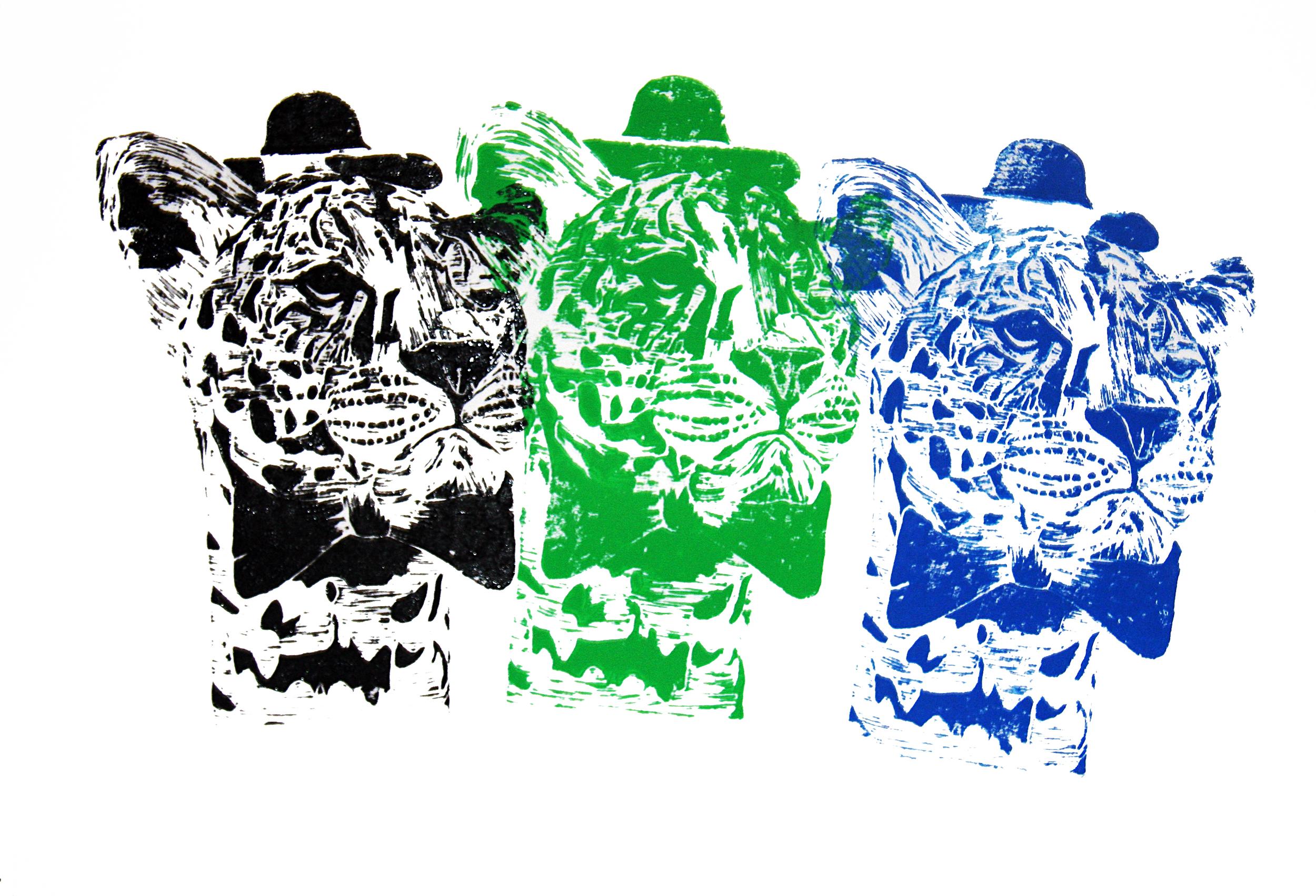'Mr Leopard' (big boss), linocut on paper, 42cm x 59.4cm, 2016